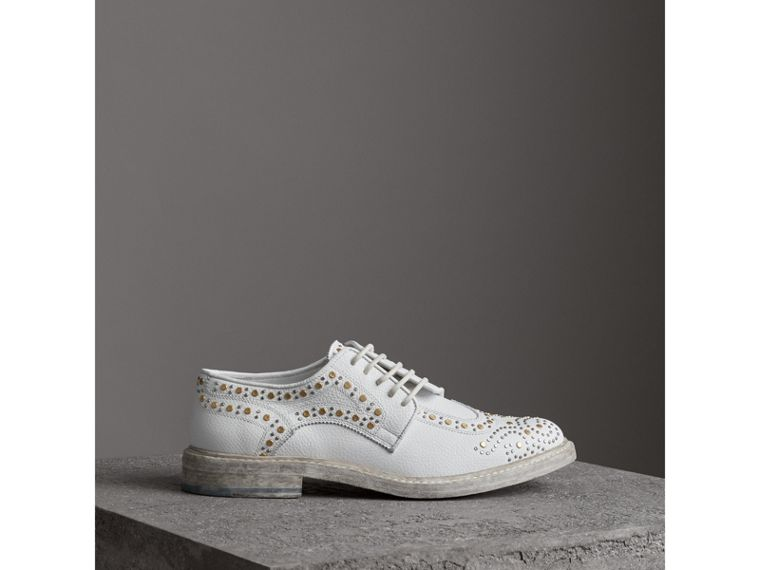 Asymmetric Closure Riveted Leather Brogues in Optic White - Women | Burberry United Kingdom - cell image 4