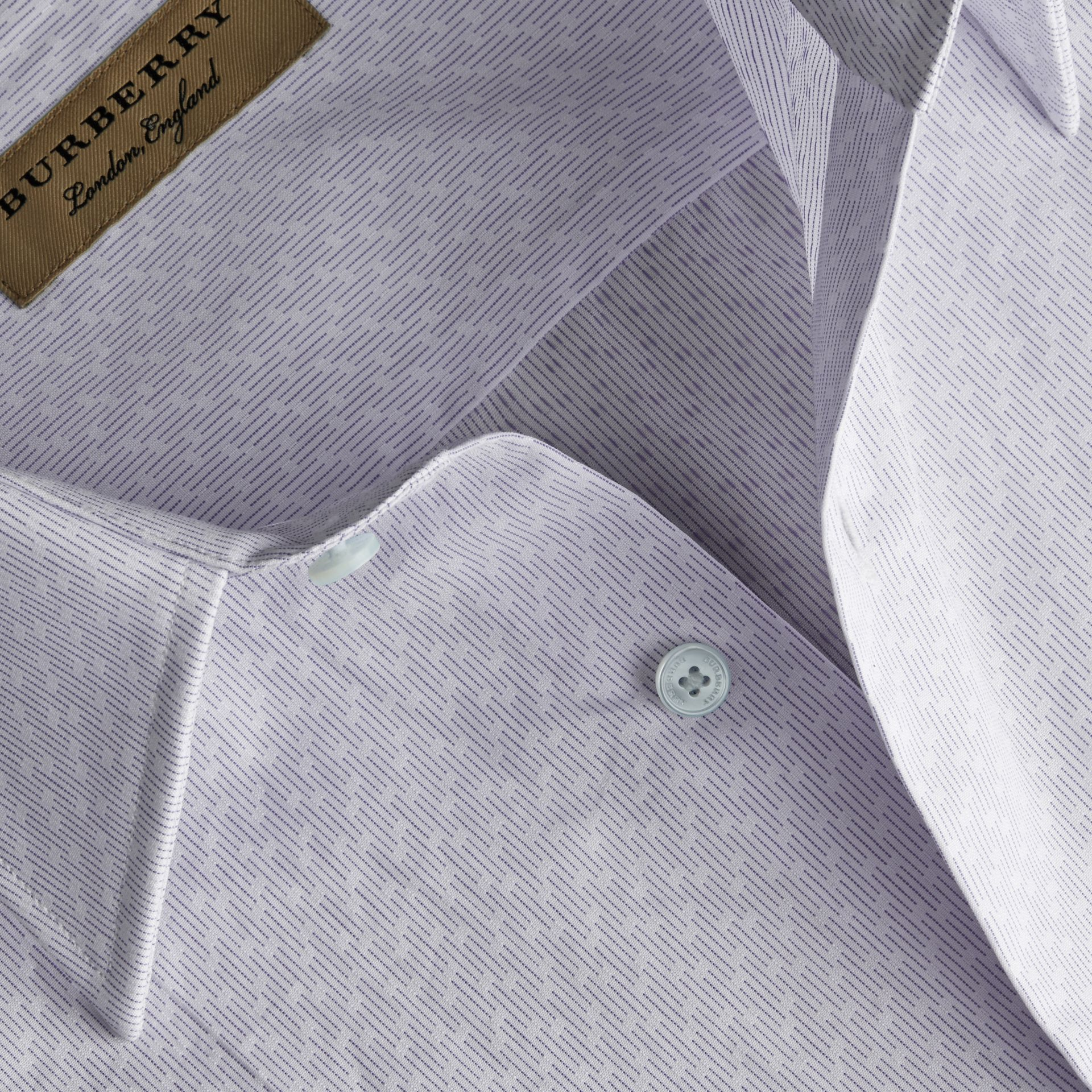 Slim Fit Striped Geometric Dobby Cotton Shirt in Pale Sky Blue - Men | Burberry - gallery image 2
