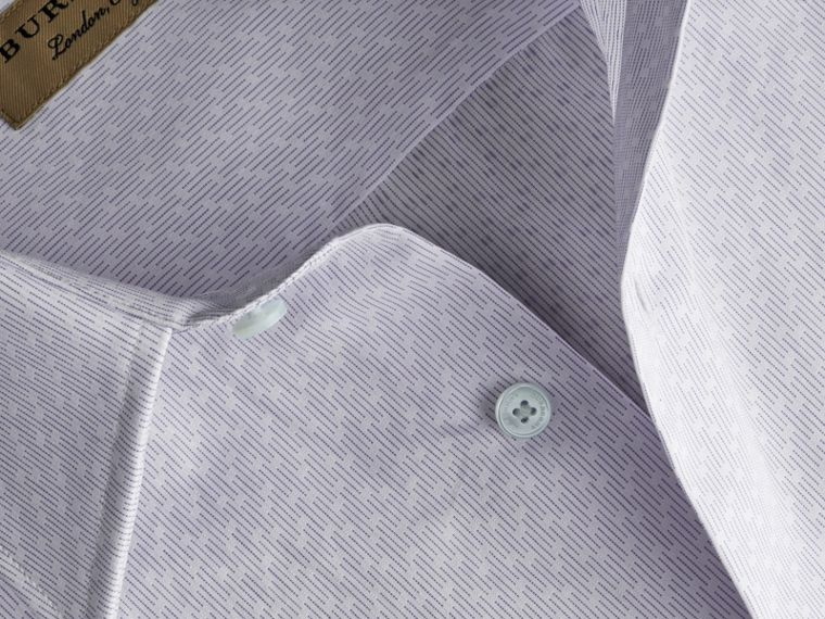 Slim Fit Striped Geometric Dobby Cotton Shirt in Pale Sky Blue - Men | Burberry - cell image 1