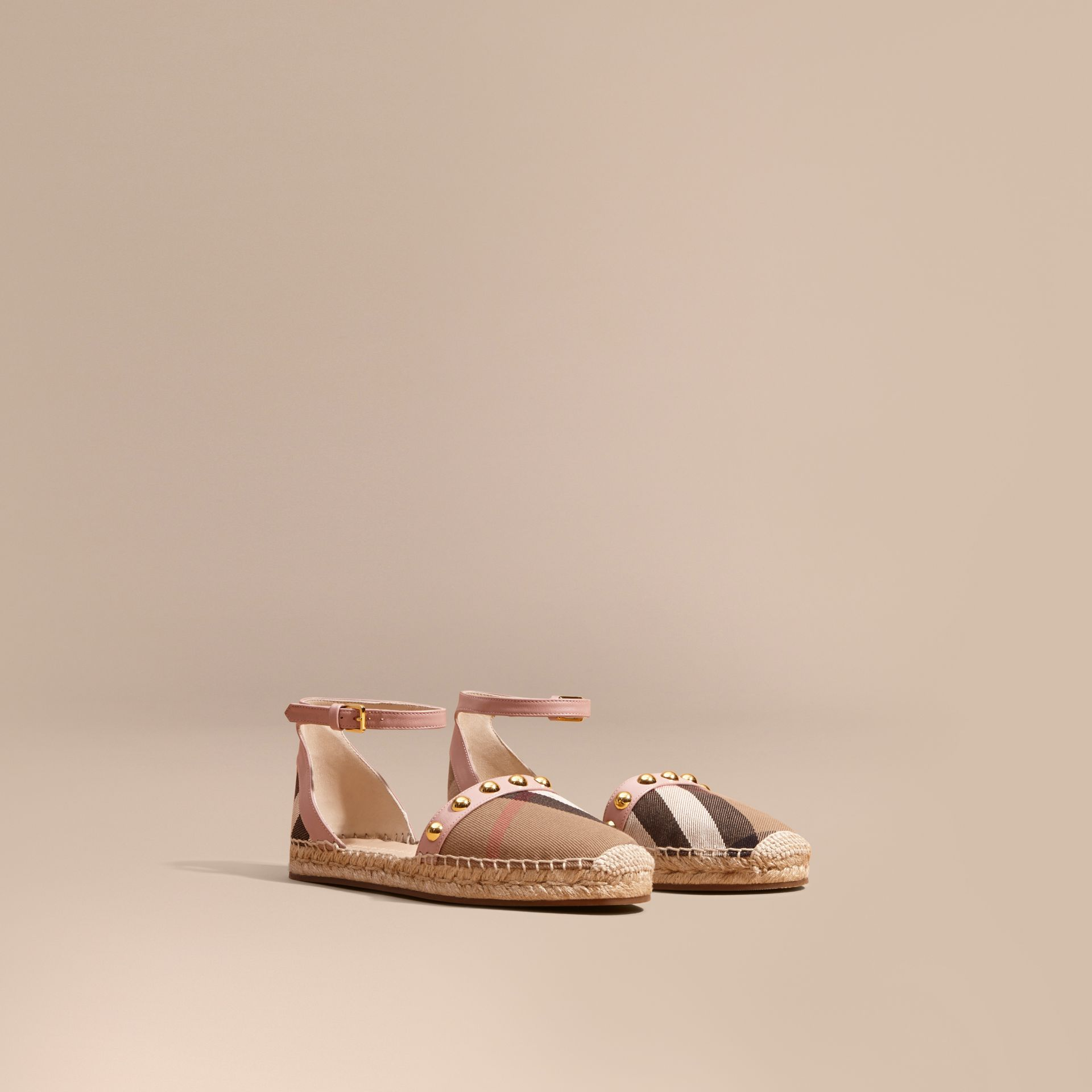 Nude blush Studded Leather and House Check Espadrille Sandals Nude Blush - gallery image 1