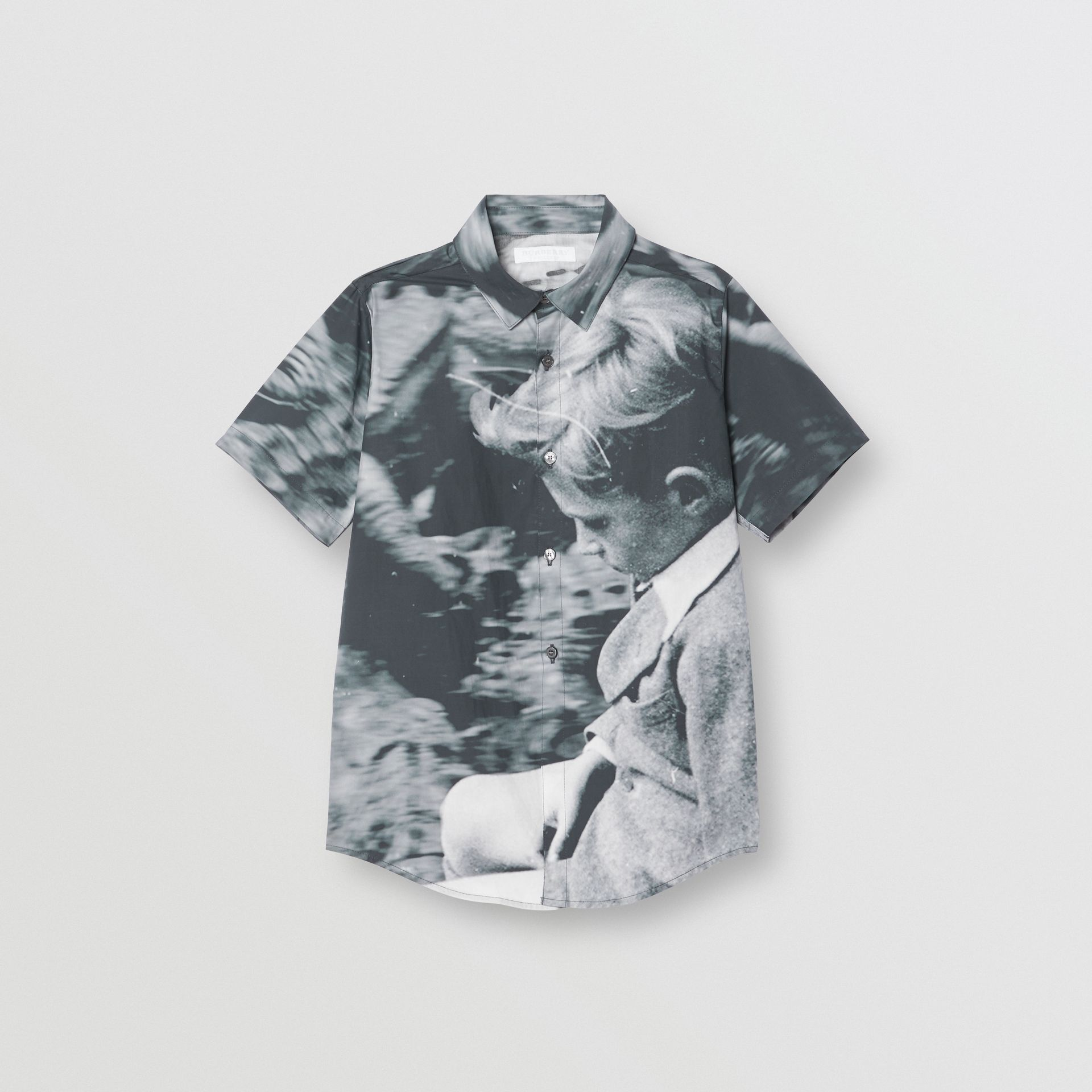 Short-sleeve Vintage Photo Print Cotton Shirt in Black - Children | Burberry United States - gallery image 0
