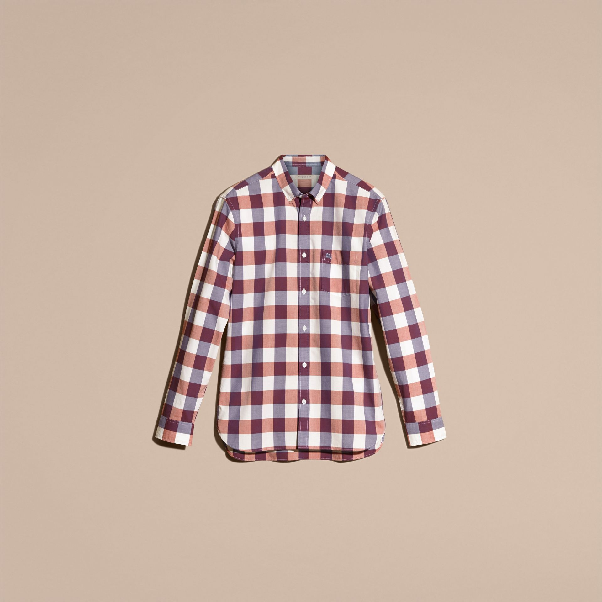 Light copper pink Button-down Collar Gingham Cotton Shirt Light Copper Pink - gallery image 4