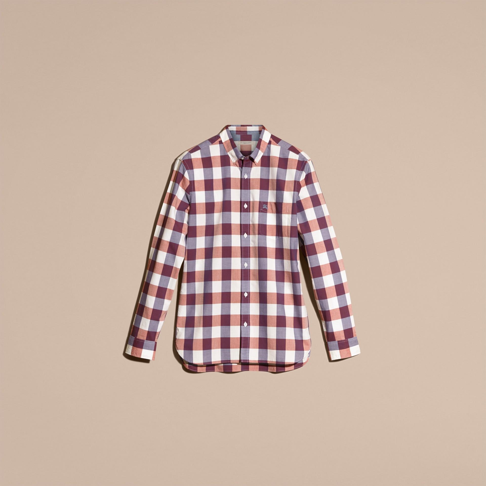 Cuivre rose clair Chemise vichy en coton à col boutonné Cuivre Rose Clair - photo de la galerie 4
