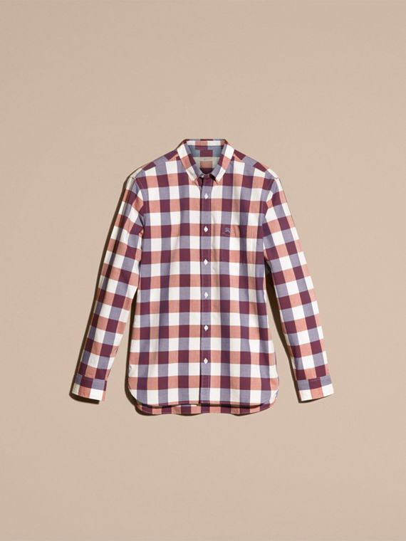 Light copper pink Button-down Collar Gingham Cotton Shirt Light Copper Pink - cell image 3