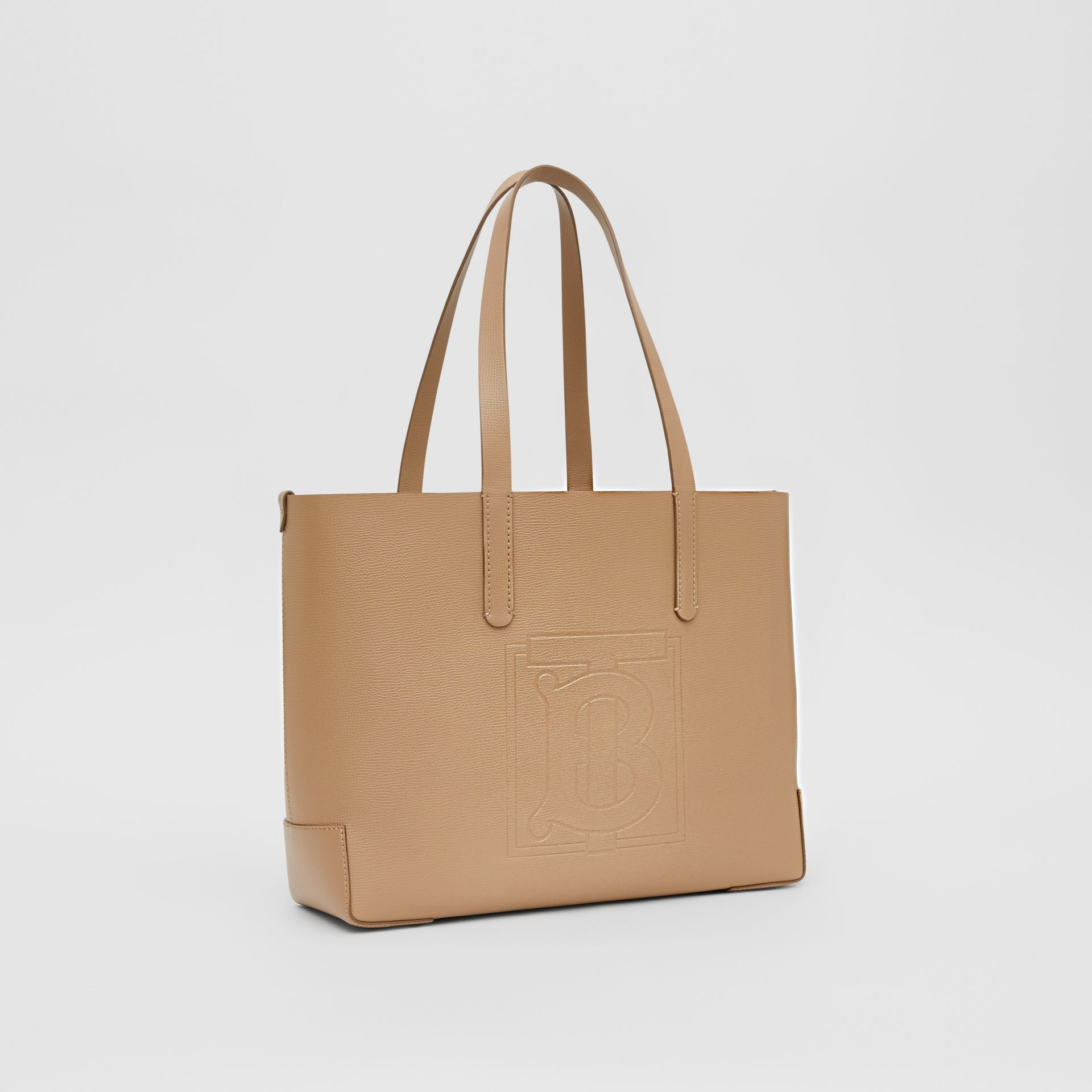 Embossed Monogram Motif Leather Tote in Camel - Women | Burberry - gallery image 8
