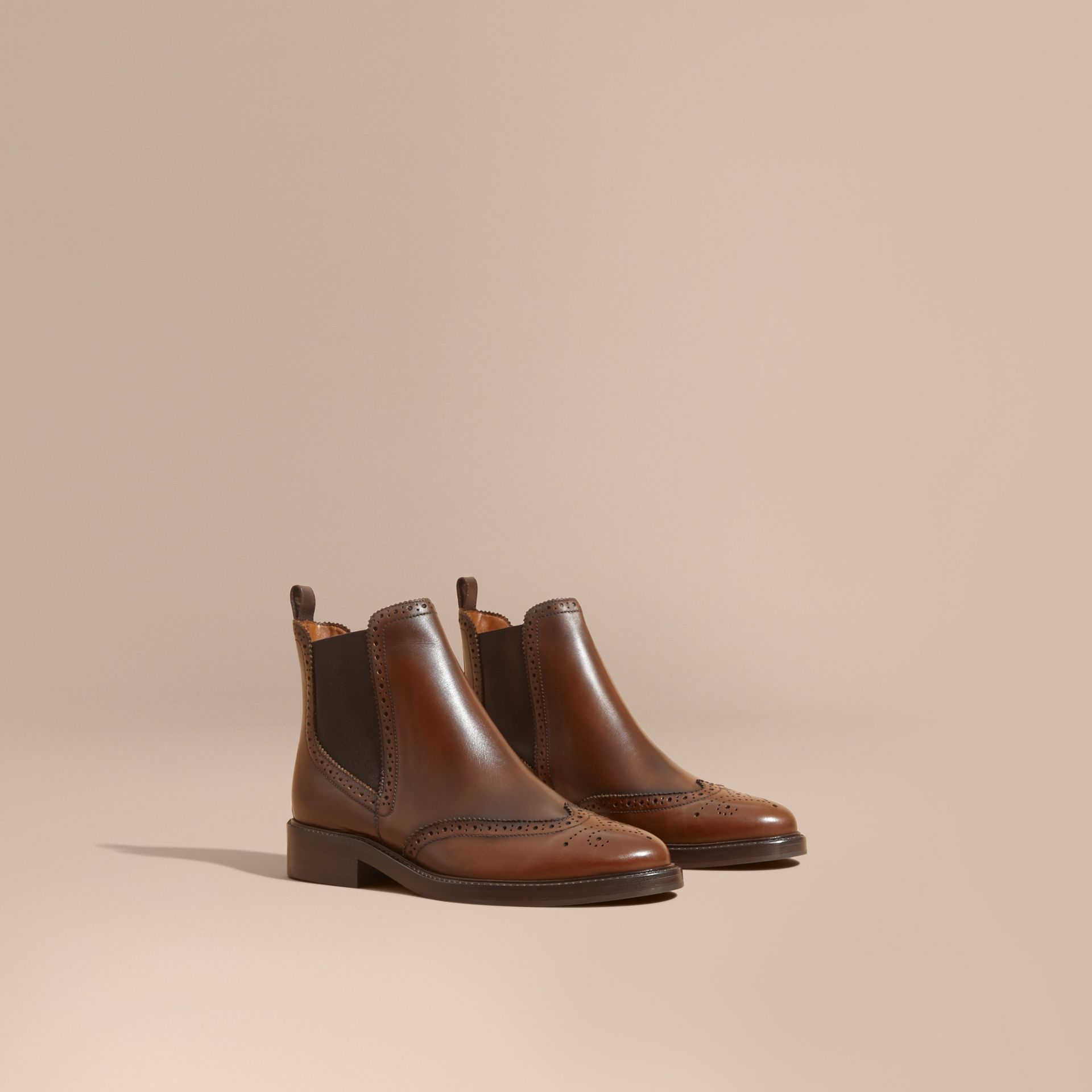 Leather Wingtip Chelsea Boots - gallery image 1