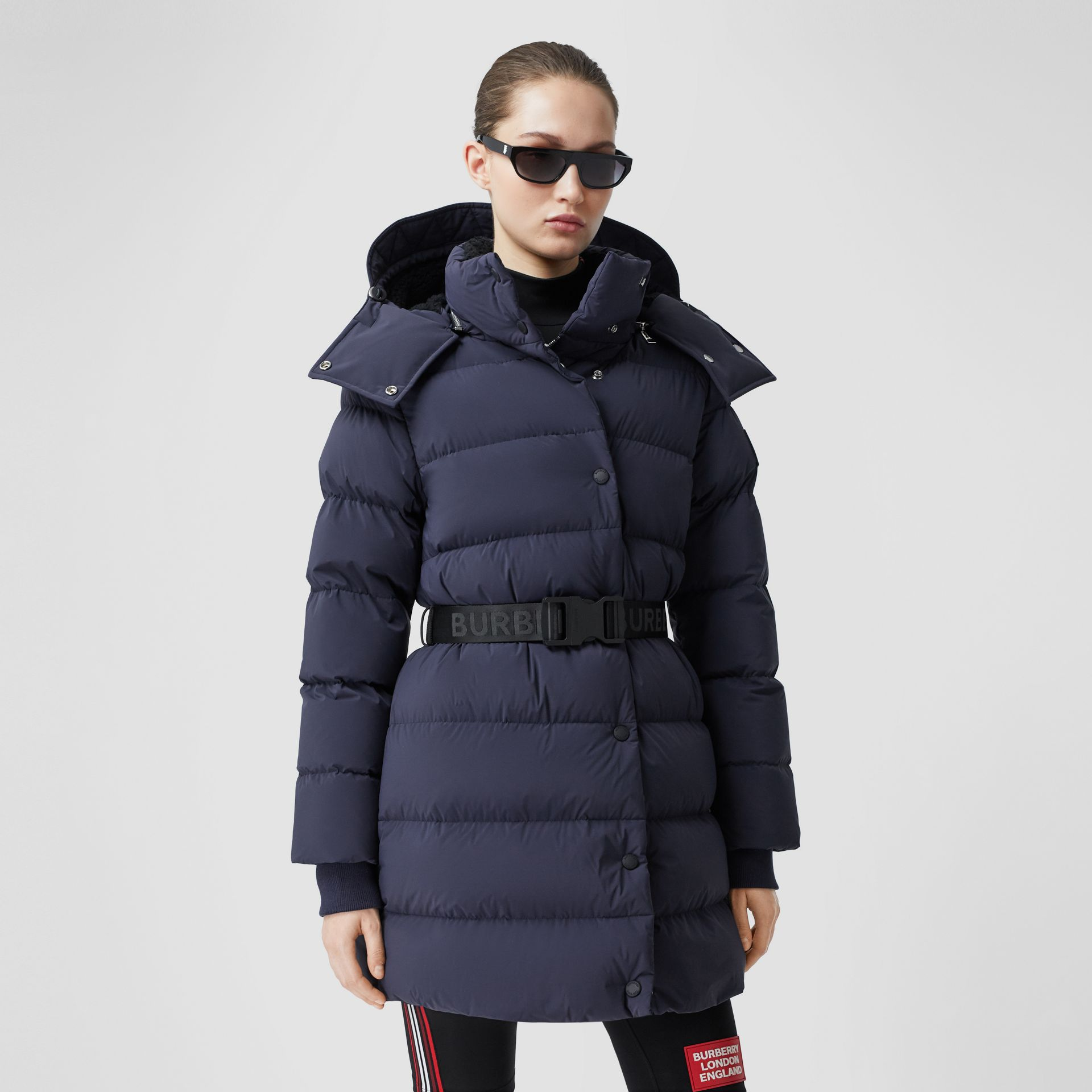 Detachable Hood Belted Puffer Coat in Navy - Women | Burberry Hong Kong S.A.R - gallery image 6