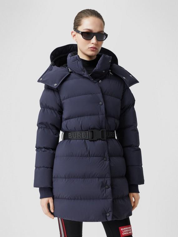 Detachable Hood Belted Puffer Coat in Navy