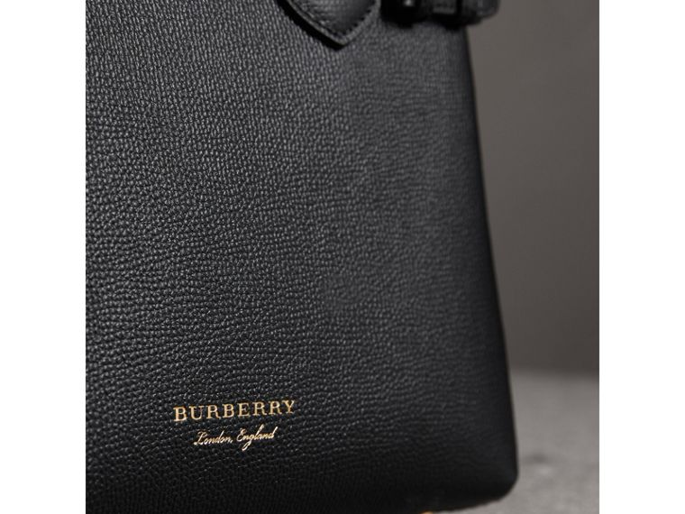The Small Banner in Leather and House Check in Black - Women | Burberry Australia - cell image 1