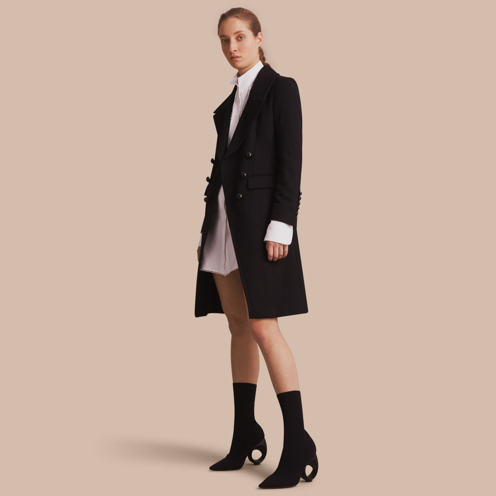Wool Blend Double-breasted Coat in Black - Women | Burberry Singapore - gallery image 1