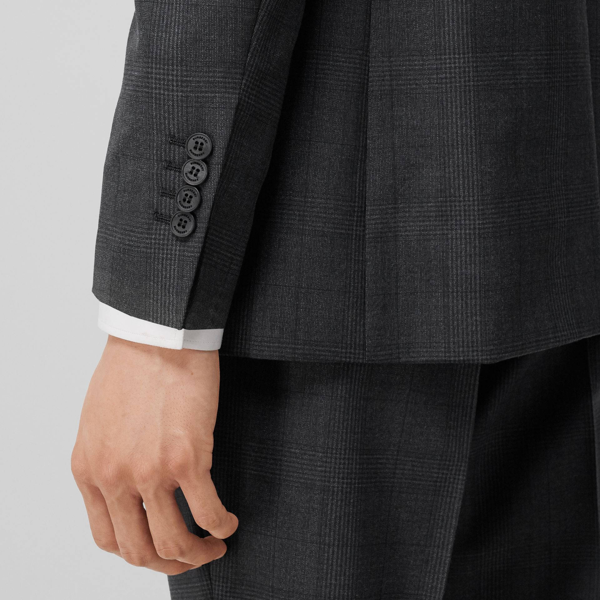 Classic Fit Check Wool Three-piece Suit in Charcoal Melange - Men | Burberry - gallery image 4
