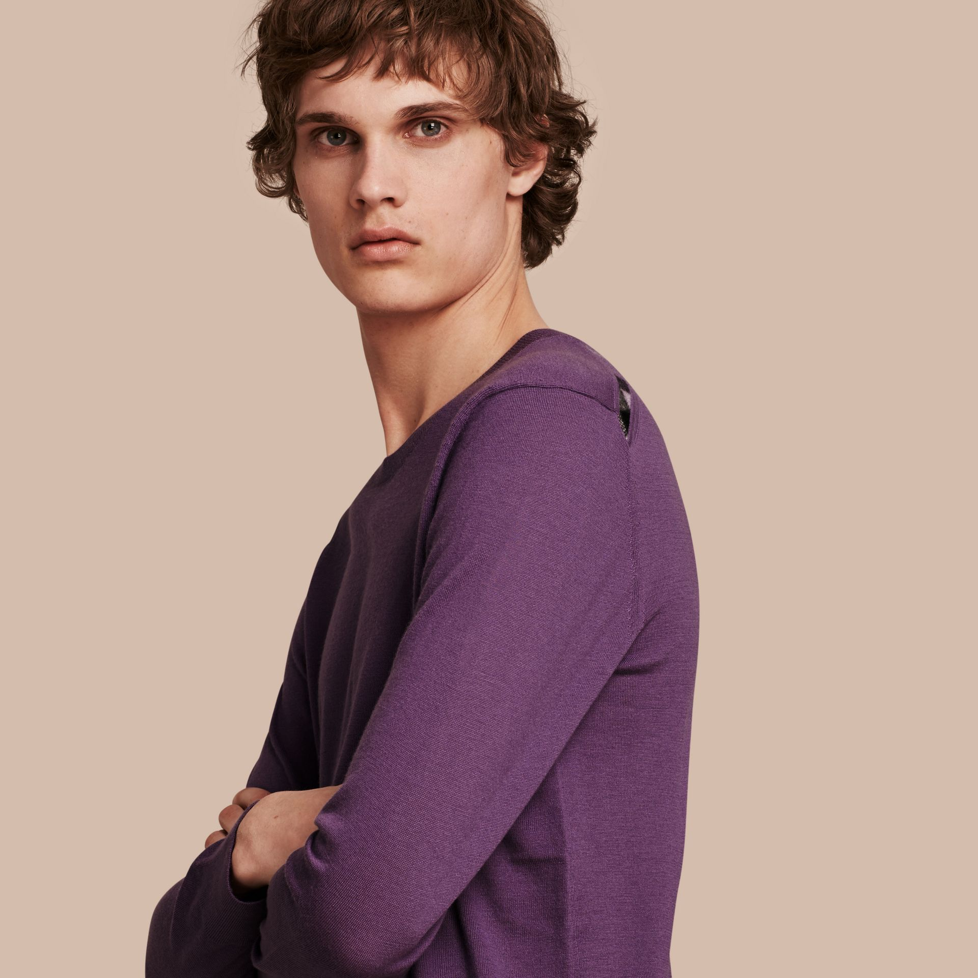 Dusty lilac Lightweight Crew Neck Cashmere Sweater with Check Trim Dusty Lilac - gallery image 1