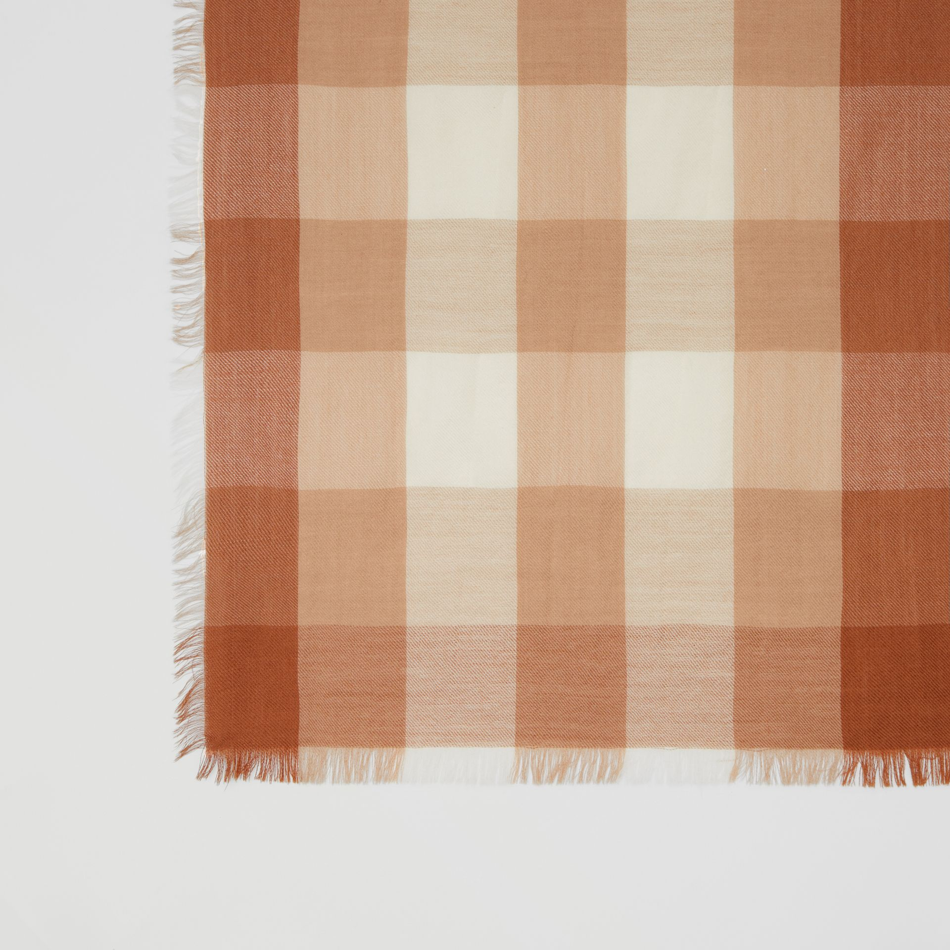 Lightweight Check Cashmere Scarf in Dark Camel | Burberry - gallery image 1
