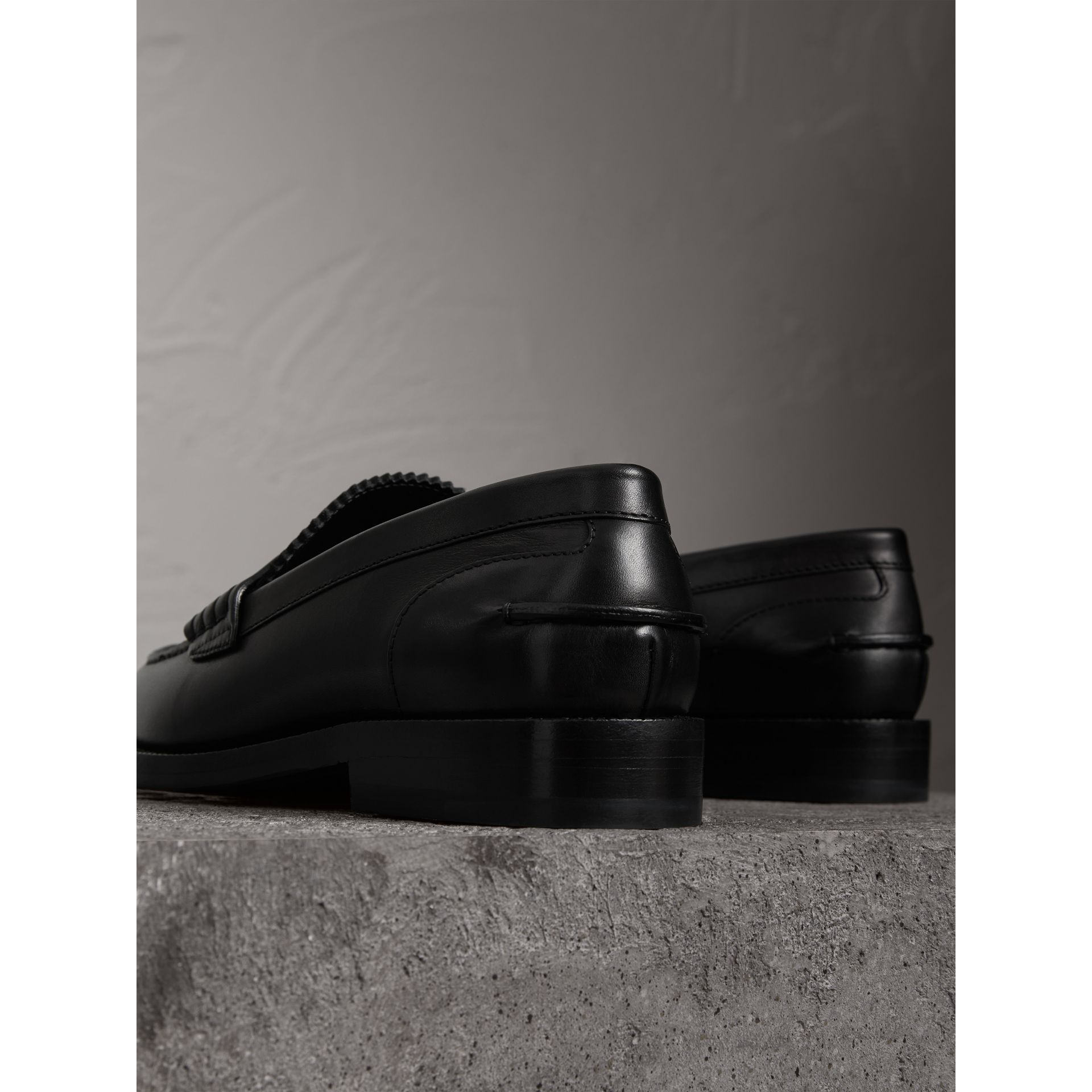 Leather Penny Loafers in Black - Women | Burberry - gallery image 3