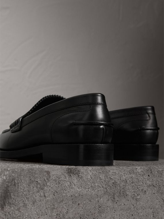 Leather Penny Loafers in Black - Women | Burberry - cell image 3