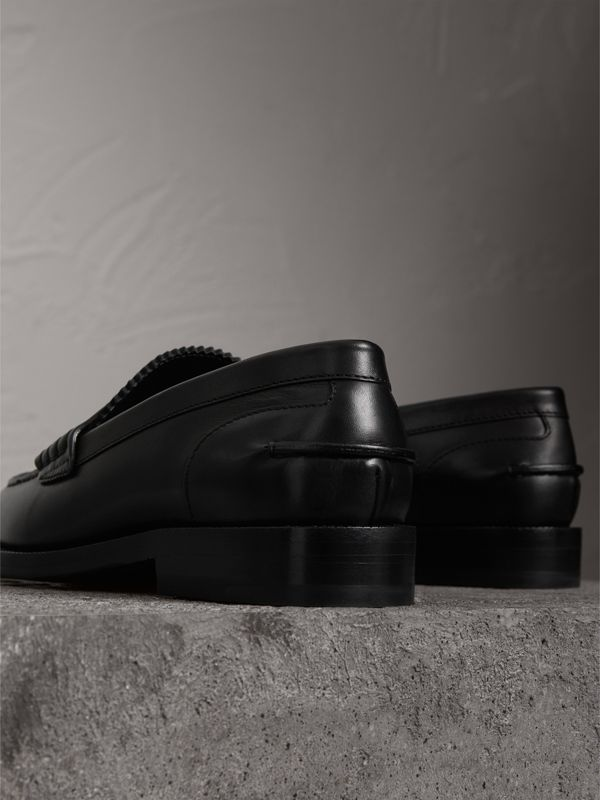 Leather Penny Loafers in Black - Women | Burberry United Kingdom - cell image 3