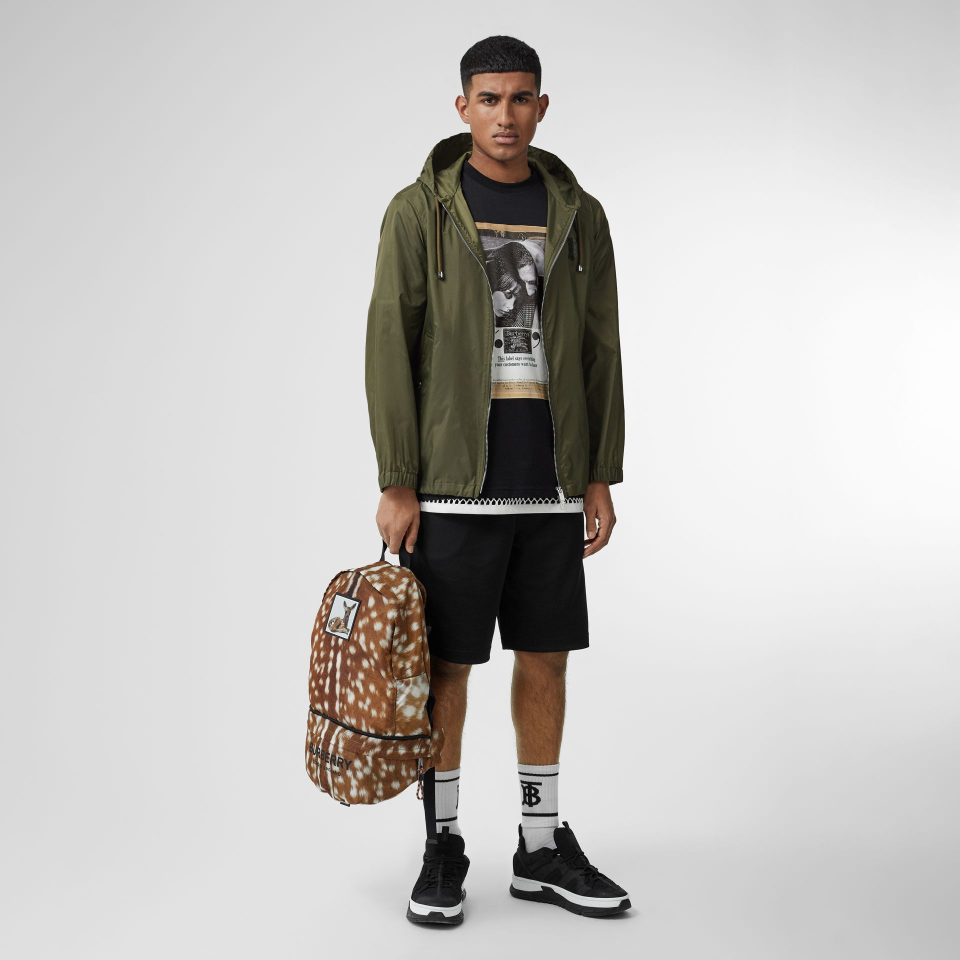 Monogram Motif Lightweight Hooded Jacket in Light Olive - Men | Burberry - gallery image 0