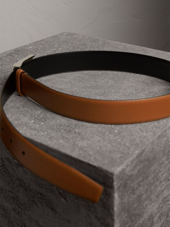 Embossed Check Detail London Leather Belt in Tan - Men | Burberry - cell image 3