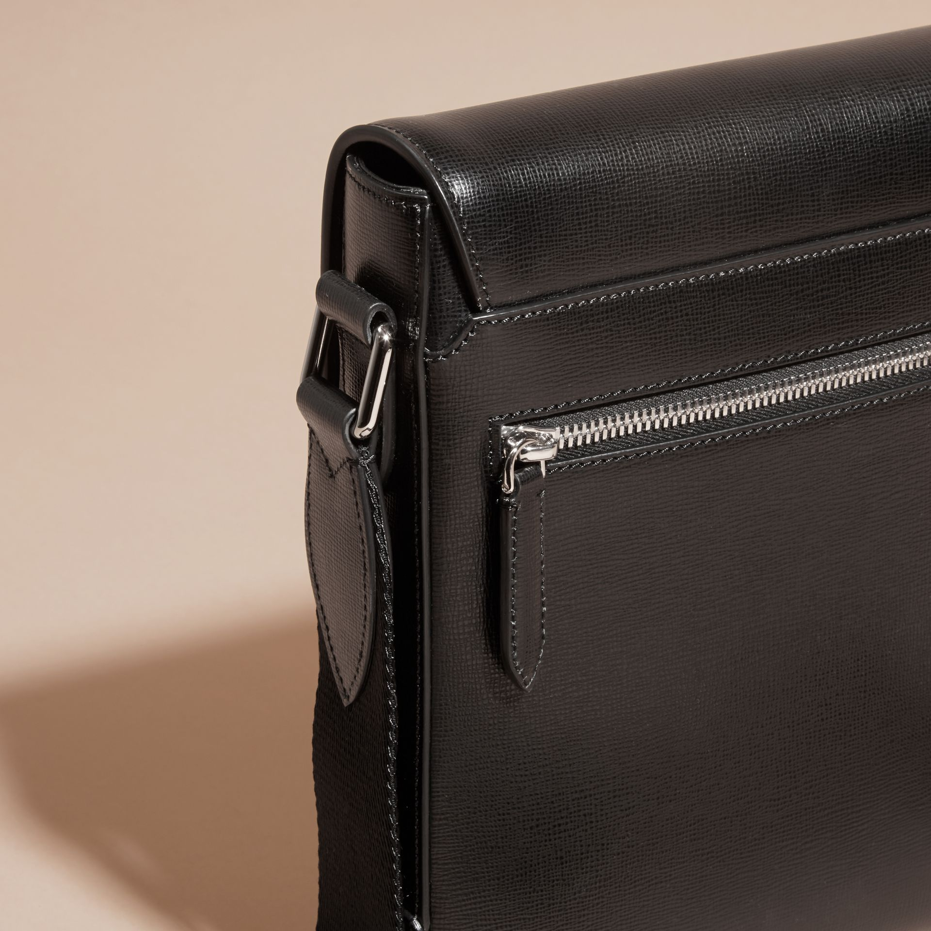 Black London Leather Crossbody Bag Black - gallery image 2