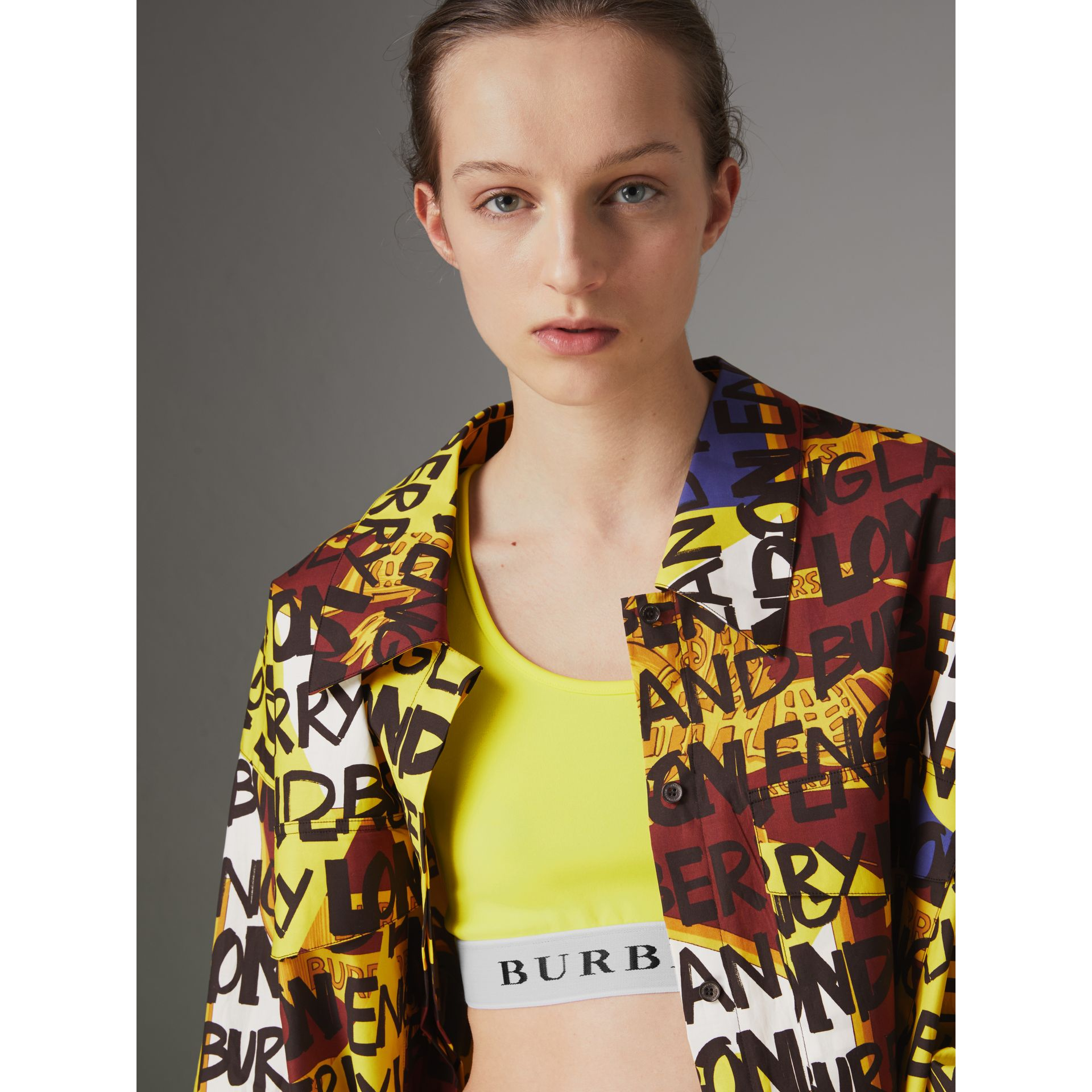 Logo Stretch Jersey Bra Top in Bright Yellow - Women | Burberry Hong Kong - gallery image 4
