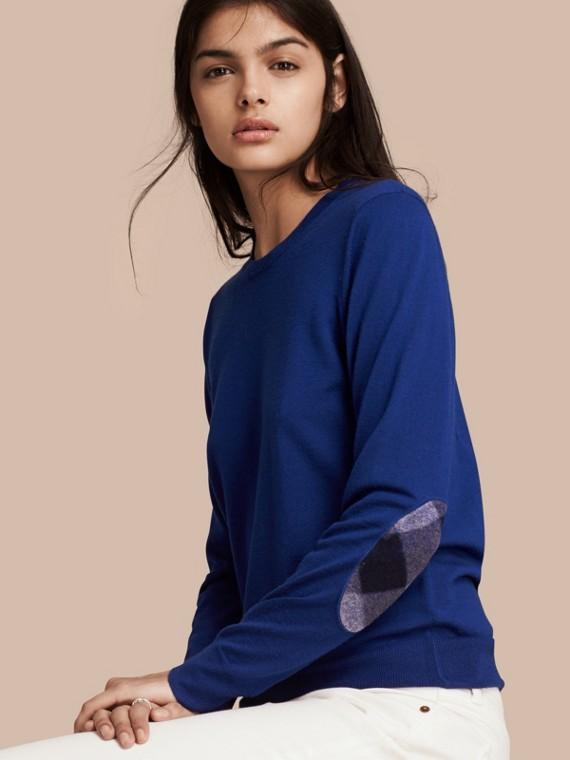 格紋細節設計美麗諾羊毛圓領套頭衫 亮鈷藍