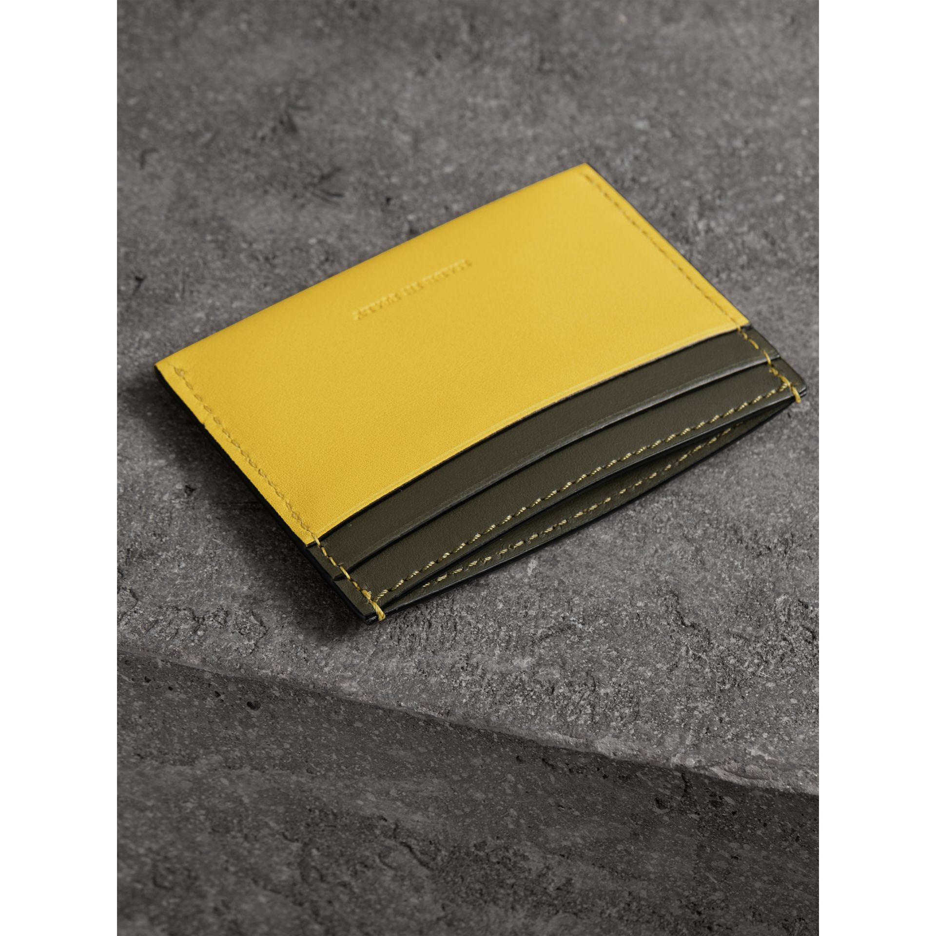 Two-tone Leather Card Case in Bright Larch Yellow | Burberry - gallery image 2