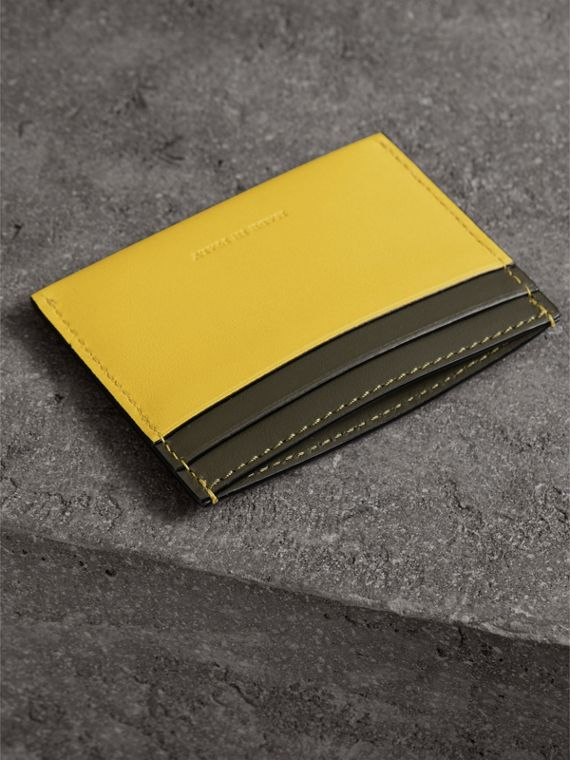 Two-tone Leather Card Case in Bright Larch Yellow - Women | Burberry - cell image 2