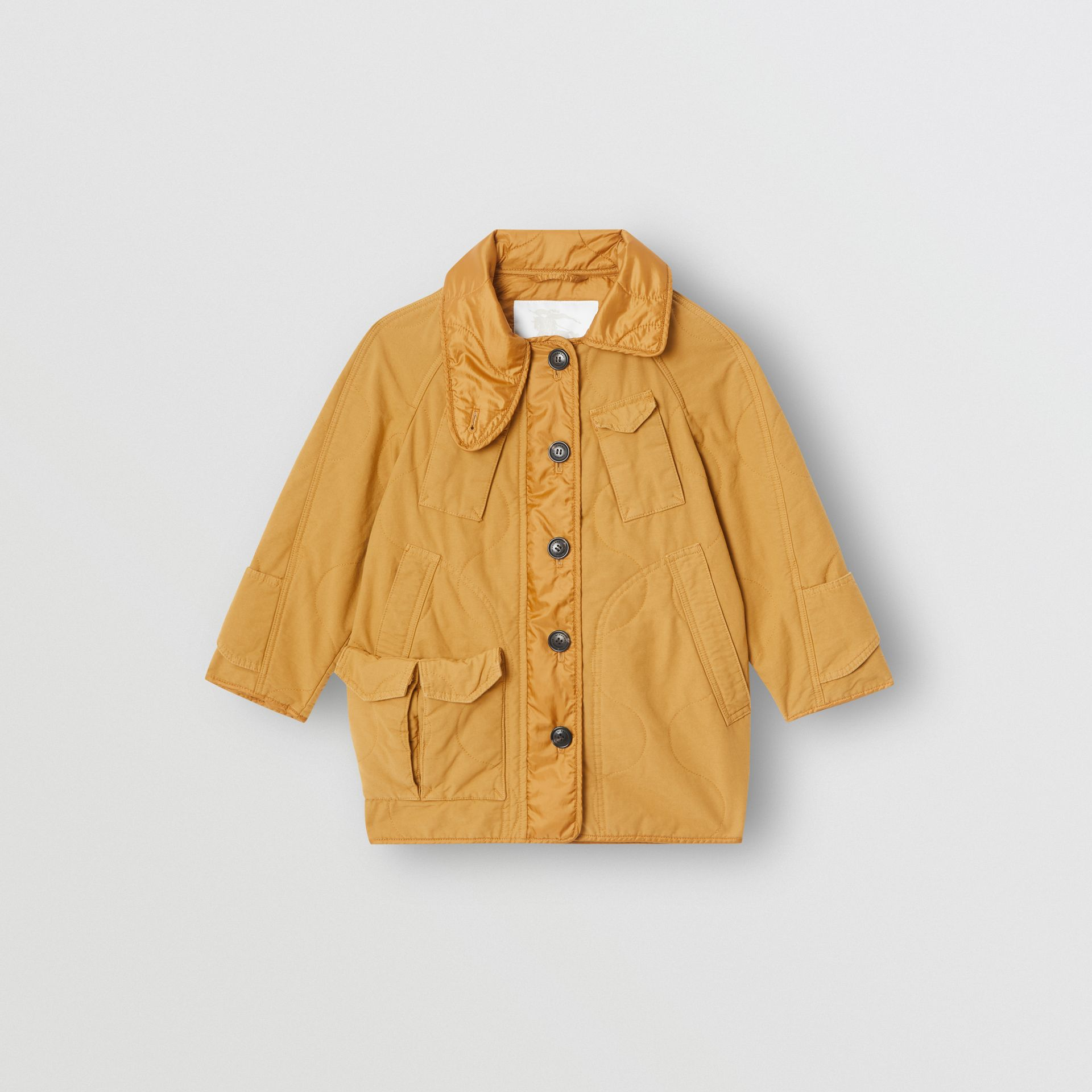 Military Quilted Cotton Coat in Amber Yellow - Girl | Burberry - gallery image 0