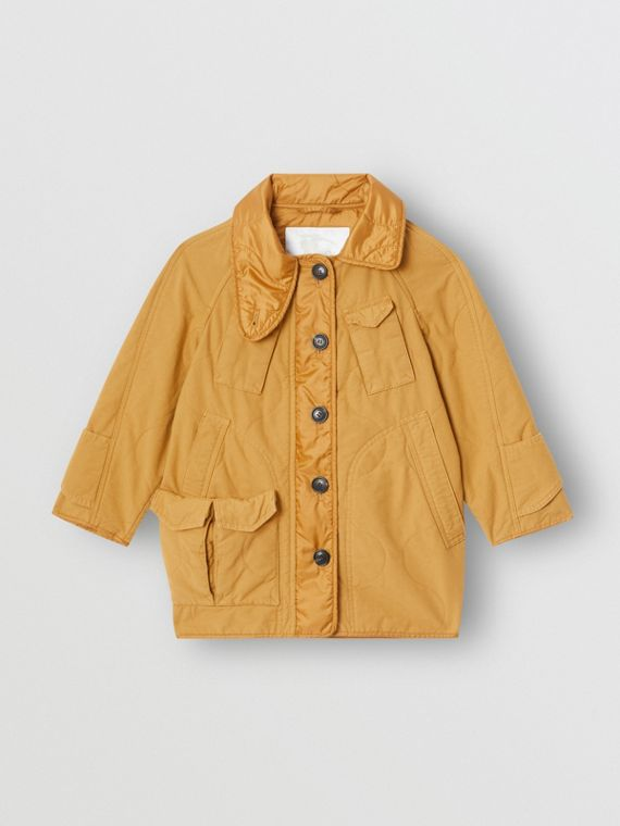 Military Quilted Cotton Coat in Amber Yellow