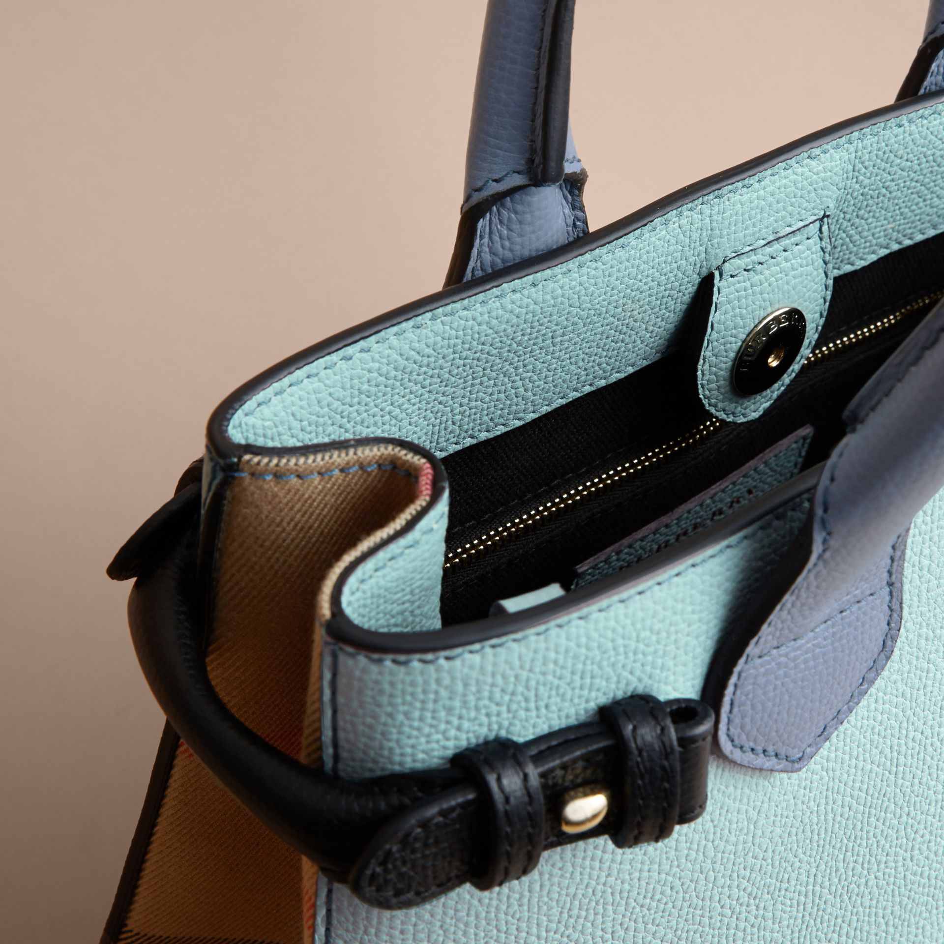 The Small Banner in Tri-tone Leather and House Check in Pale Opal/slate Blue - Women | Burberry - gallery image 6