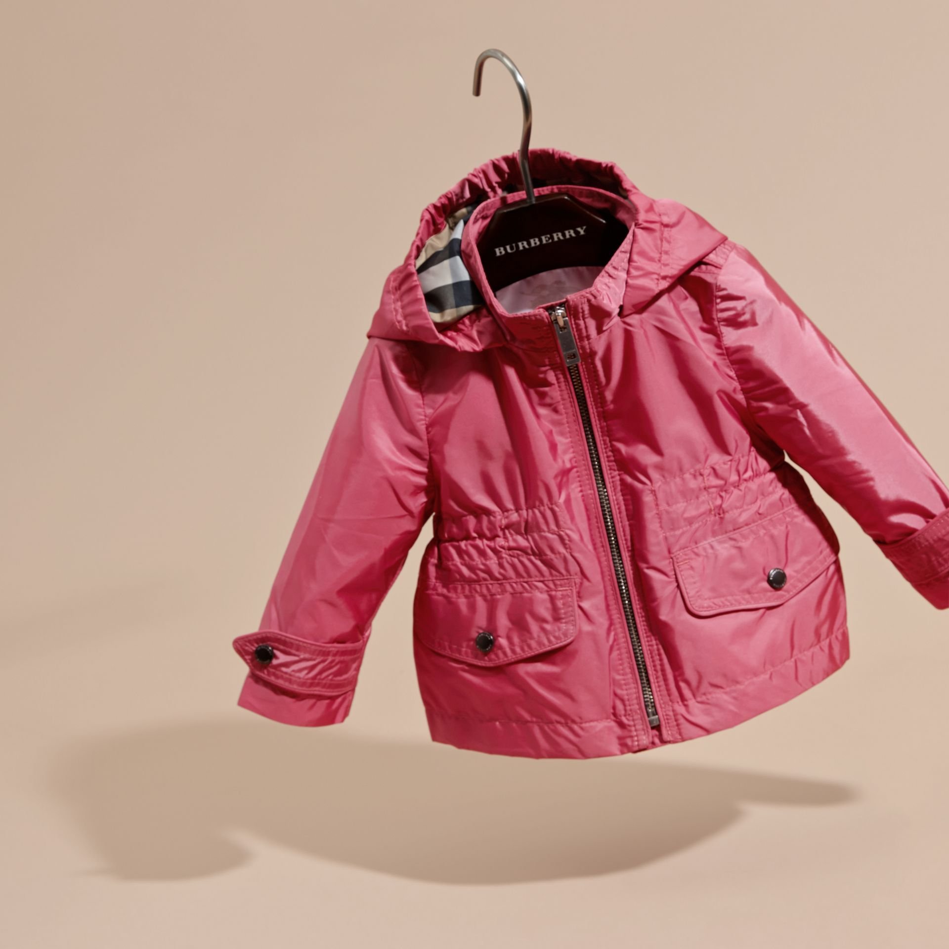 Hooded Packaway Technical Jacket in Pink Azalea - gallery image 3