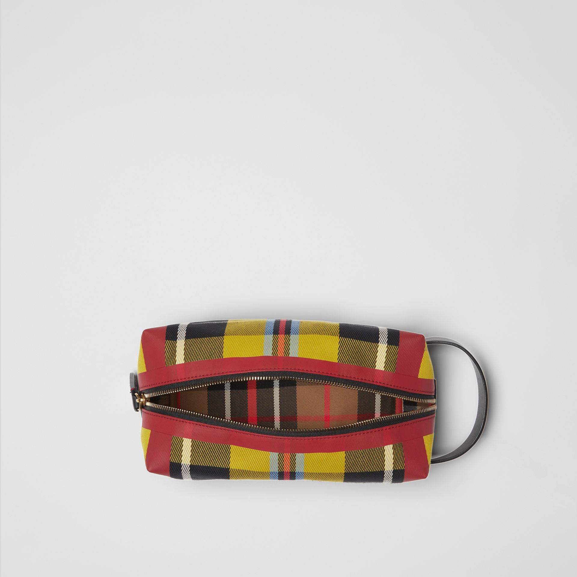 Tartan Cotton Pouch in Ochre Yellow | Burberry - gallery image 5