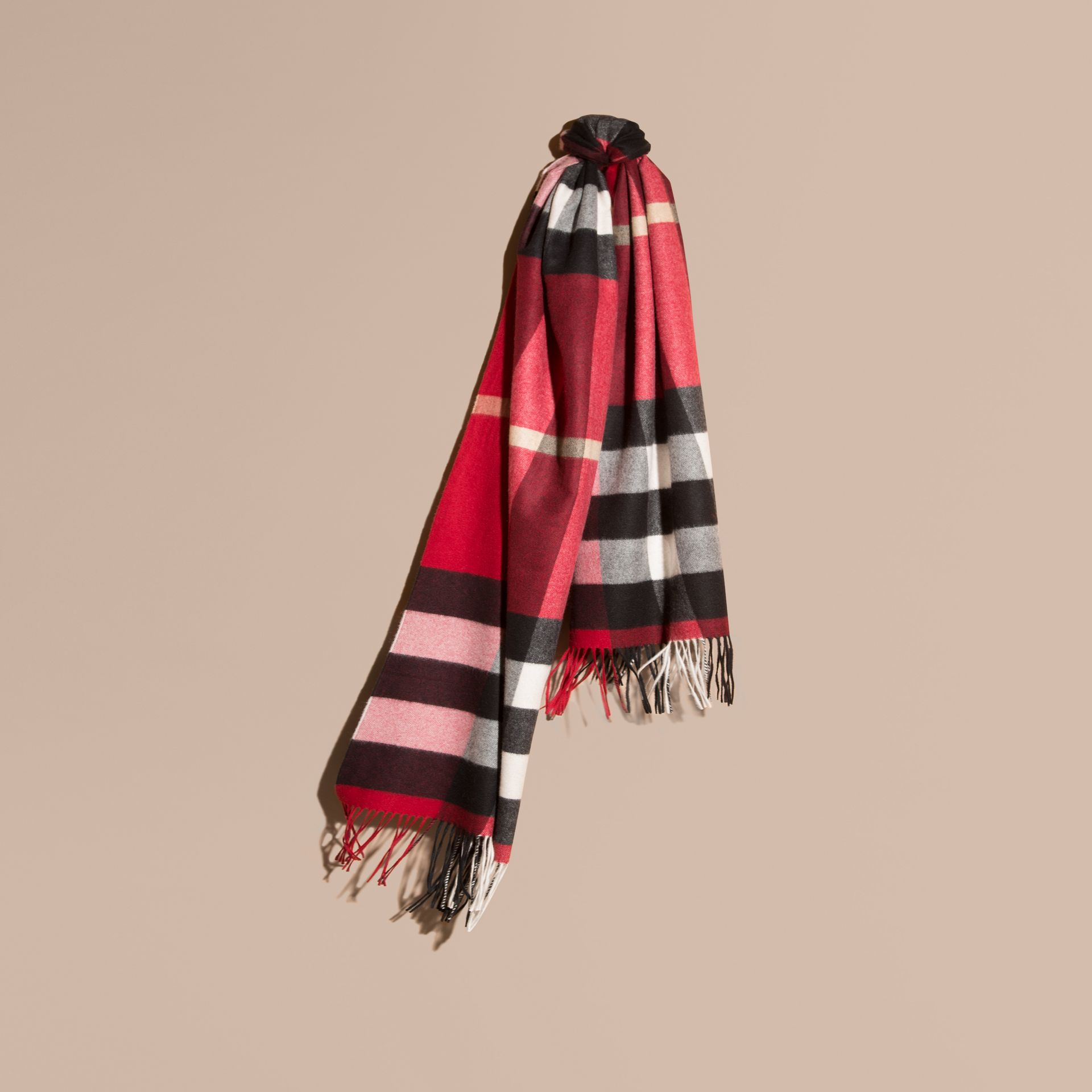 Oversize Check Cashmere Scarf in Parade Red - gallery image 1