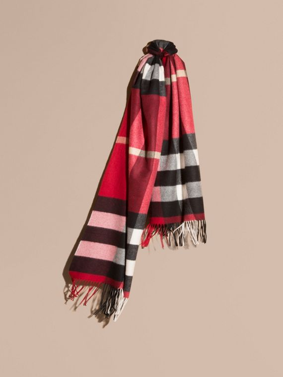 Oversize Check Cashmere Scarf Parade Red