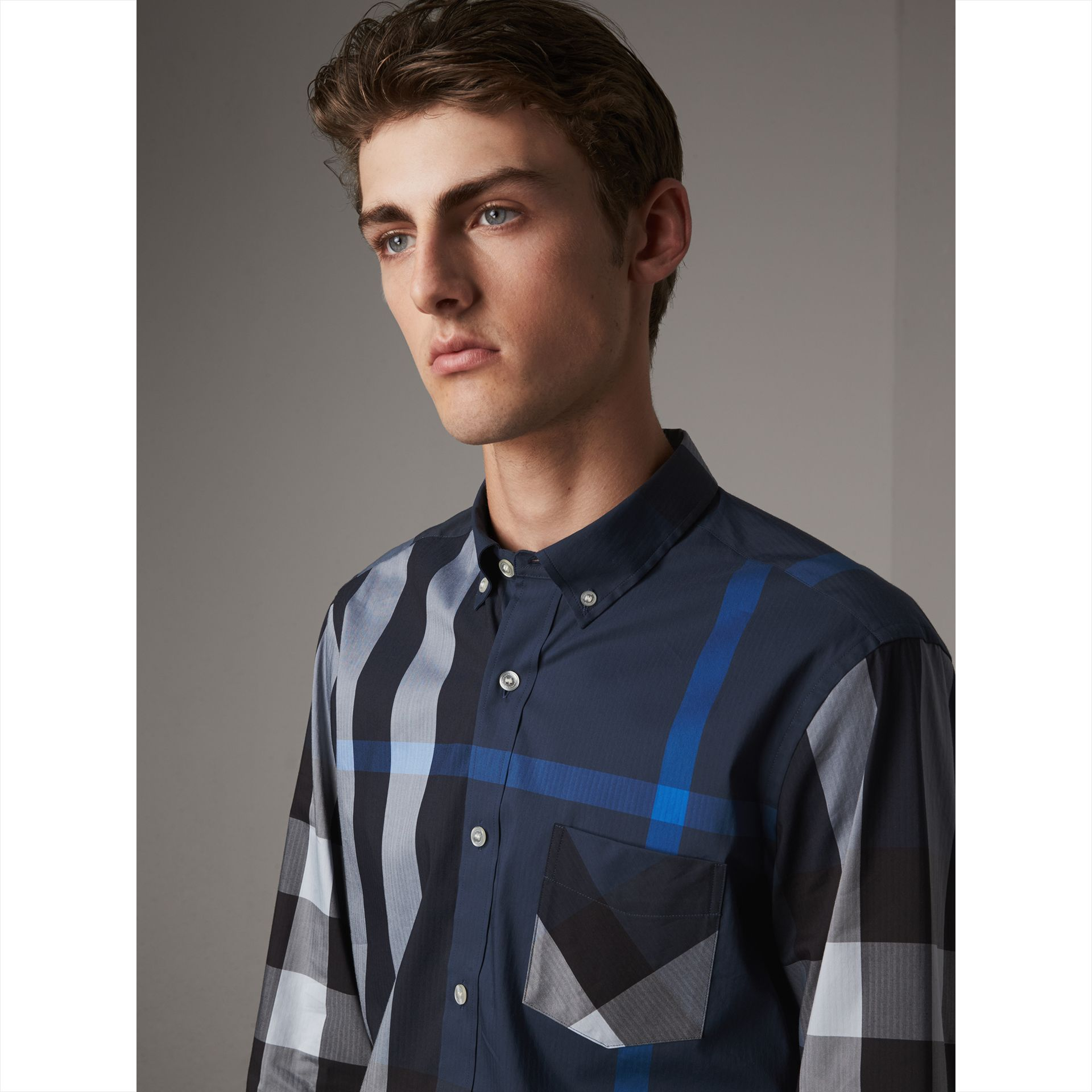 Button-down Collar Check Stretch Cotton Blend Shirt in Canvas Blue - Men | Burberry United Kingdom - gallery image 2