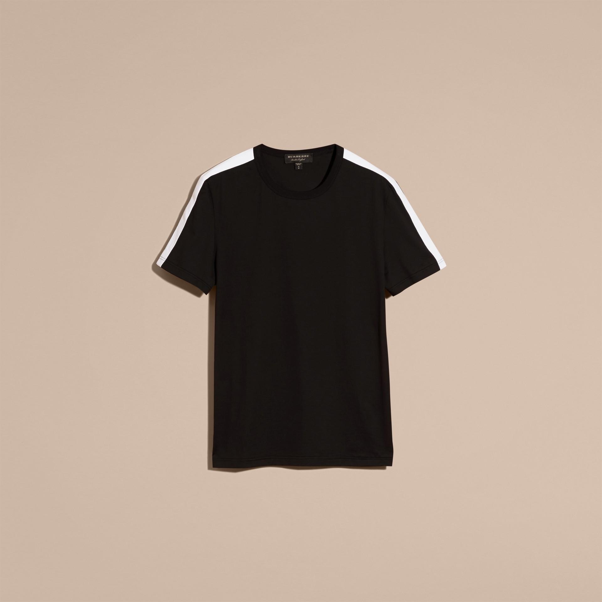 Noir T-shirt en coton avec rayure à l'épaule Noir - photo de la galerie 3