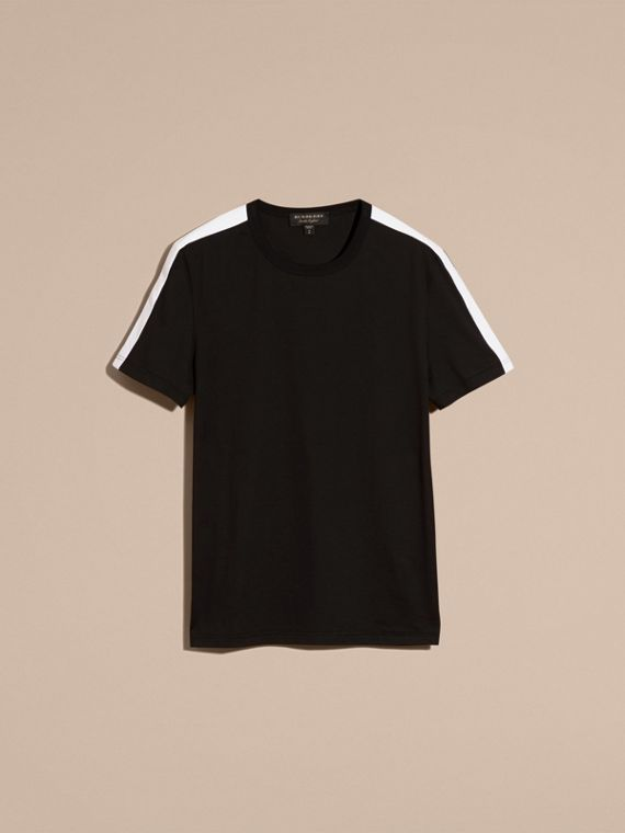 Black Shoulder Stripe Cotton T-shirt Black - cell image 2