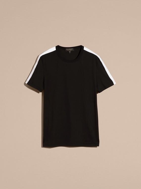 Noir T-shirt en coton avec rayure à l'épaule Noir - cell image 2