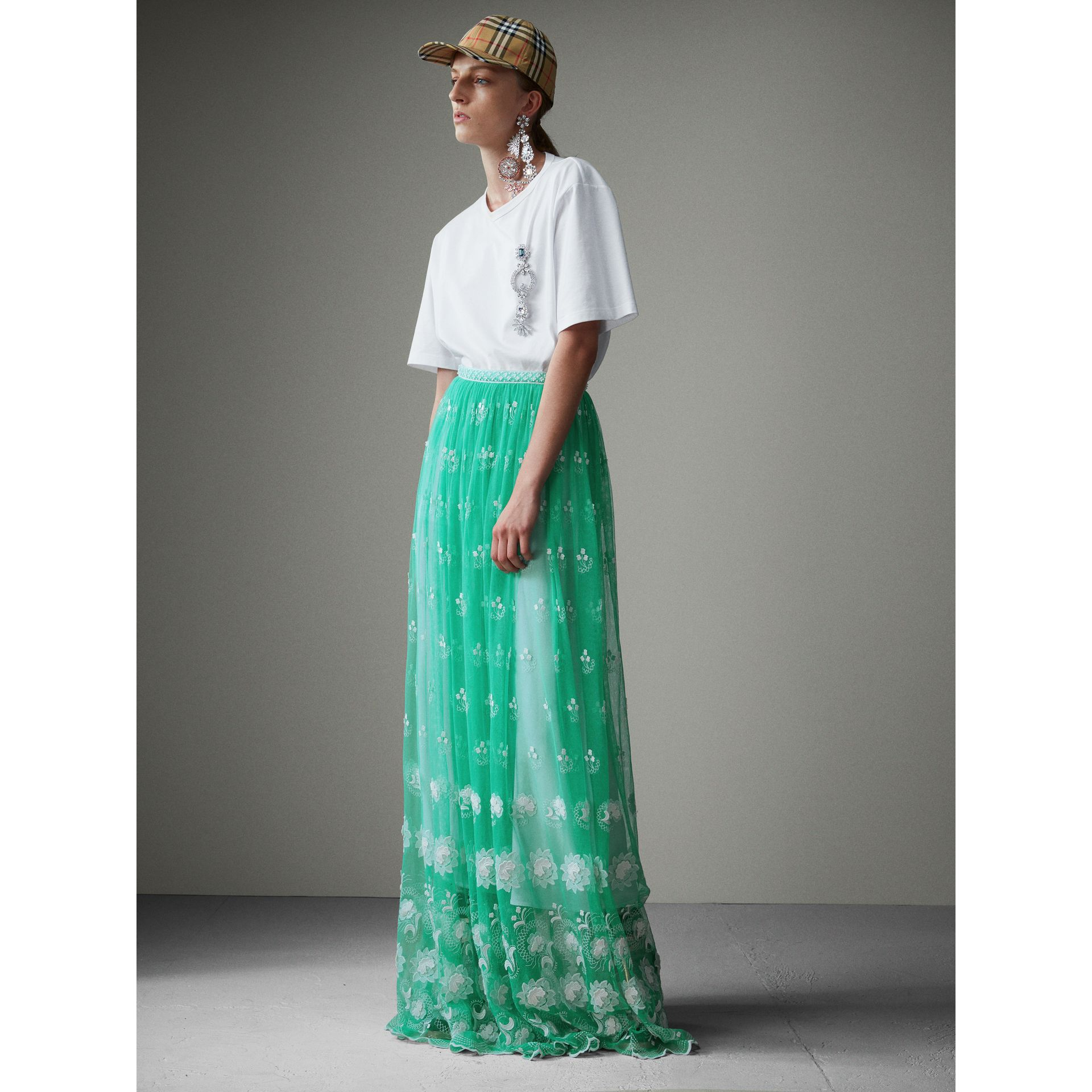 Floor-length Embroidered Tulle Skirt in Aqua Green/white - Women | Burberry - gallery image 5
