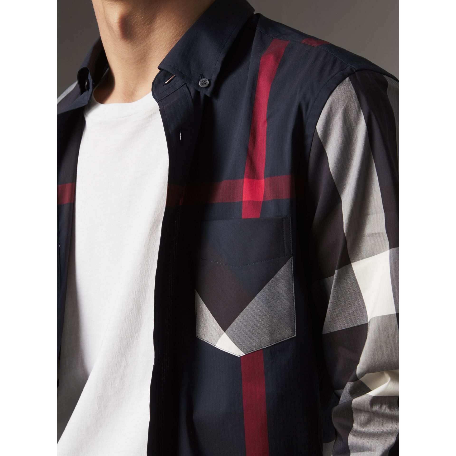 Button-down Collar Check Stretch Cotton Blend Shirt in Navy - Men | Burberry Australia - gallery image 1