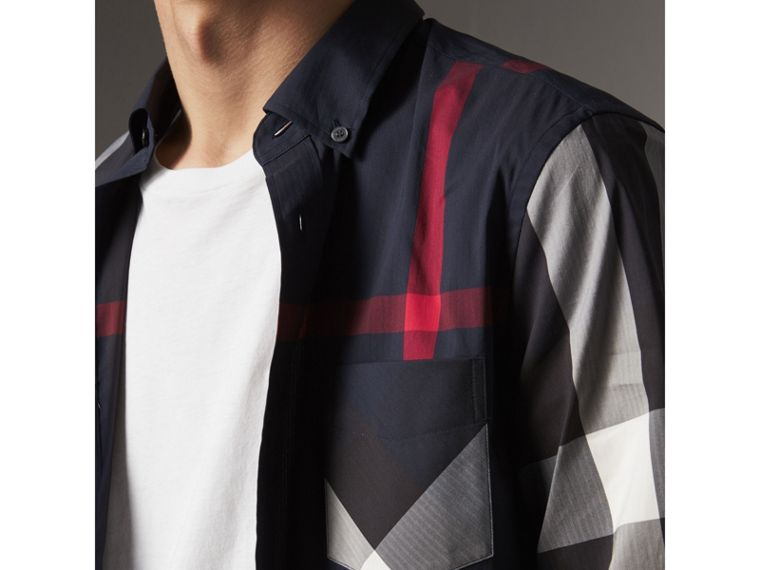 Button-down Collar Check Stretch Cotton Blend Shirt in Navy - Men | Burberry Canada - cell image 1