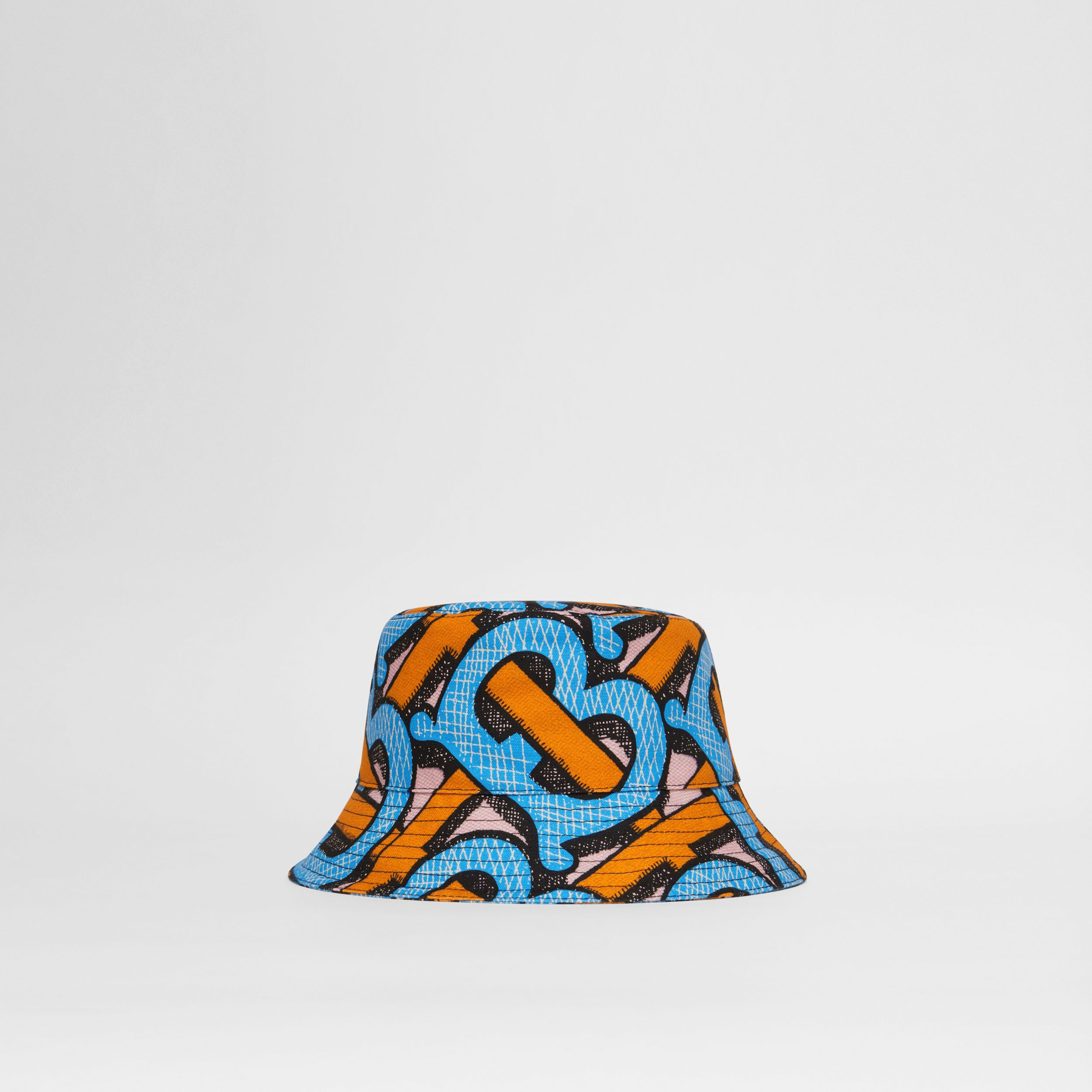 Monogram Print Cotton Canvas Bucket Hat in Bright Cobalt | Burberry Singapore - 1