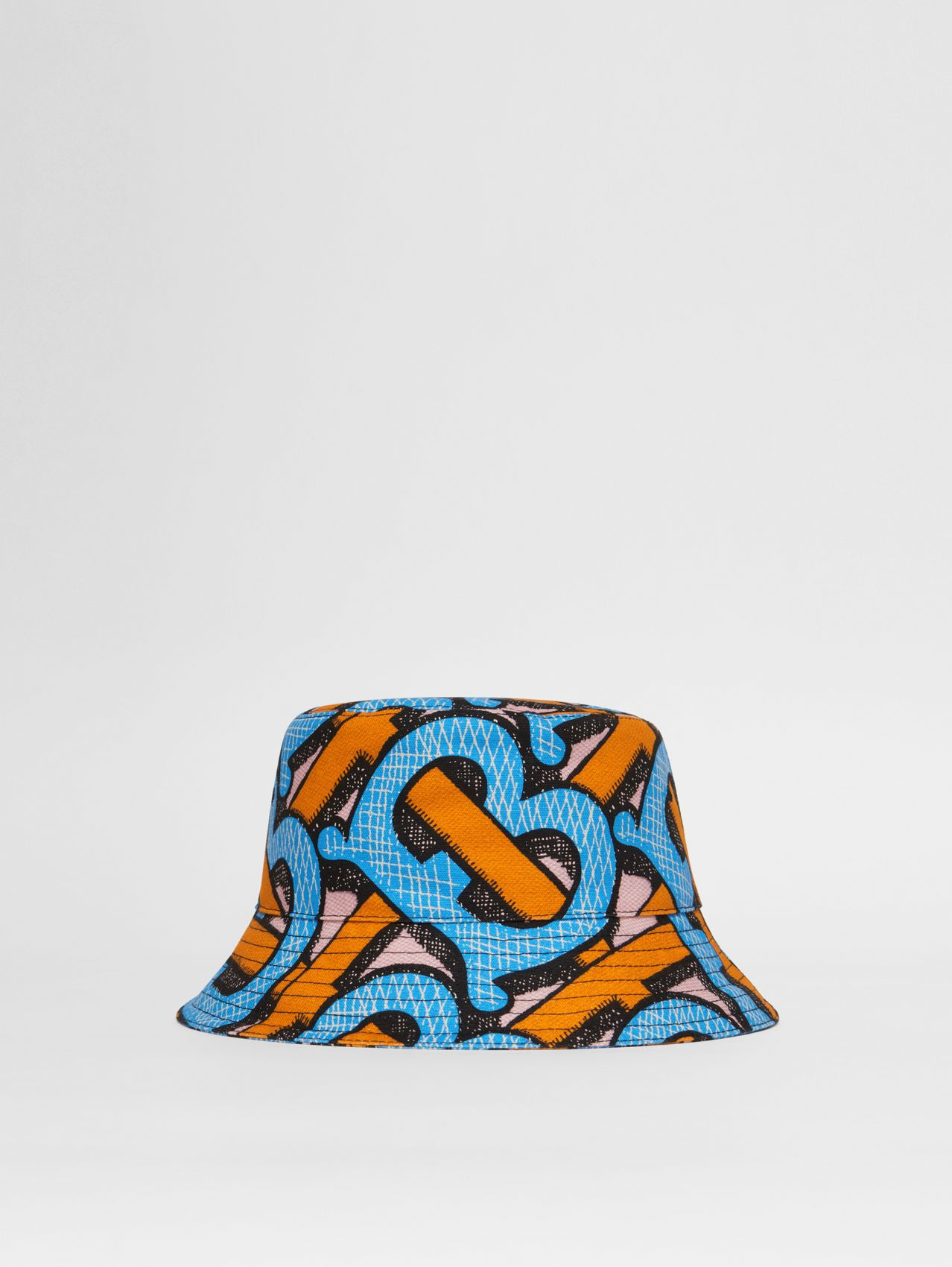 Monogram Print Cotton Canvas Bucket Hat (Bright Cobalt)
