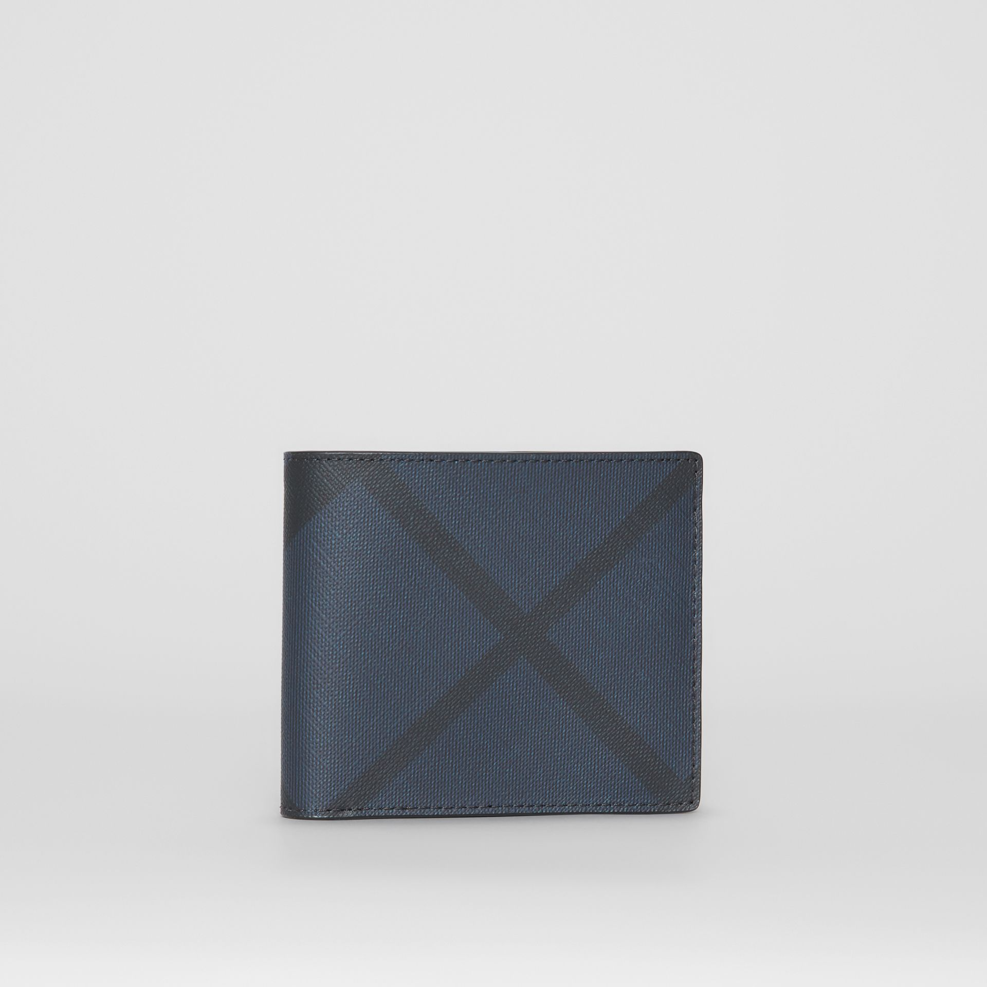 London Check and Leather International Bifold Wallet in Navy/black - Men | Burberry United Kingdom - gallery image 3