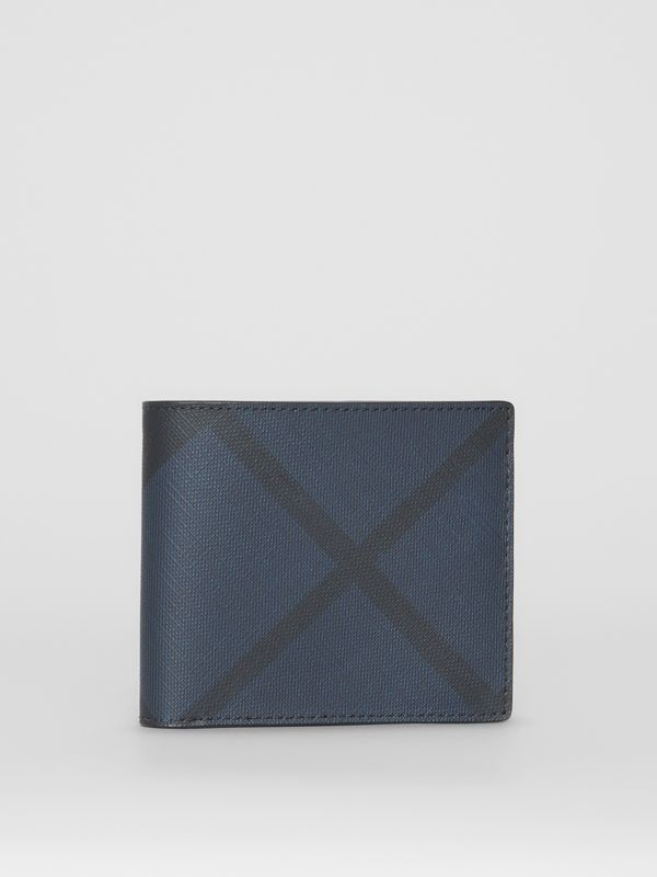 London Check and Leather International Bifold Wallet in Navy/black - Men | Burberry Singapore - cell image 3