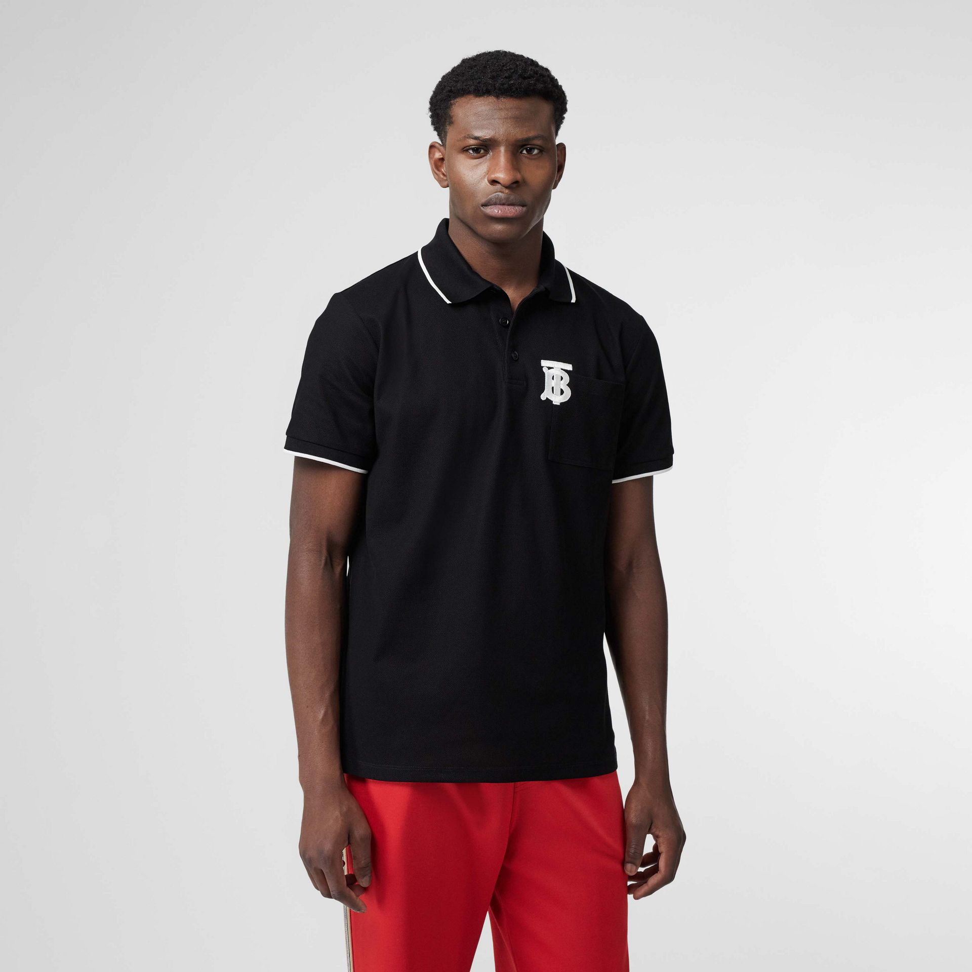 Monogram Motif Tipped Cotton Piqué Polo Shirt in Black - Men | Burberry Australia - gallery image 4