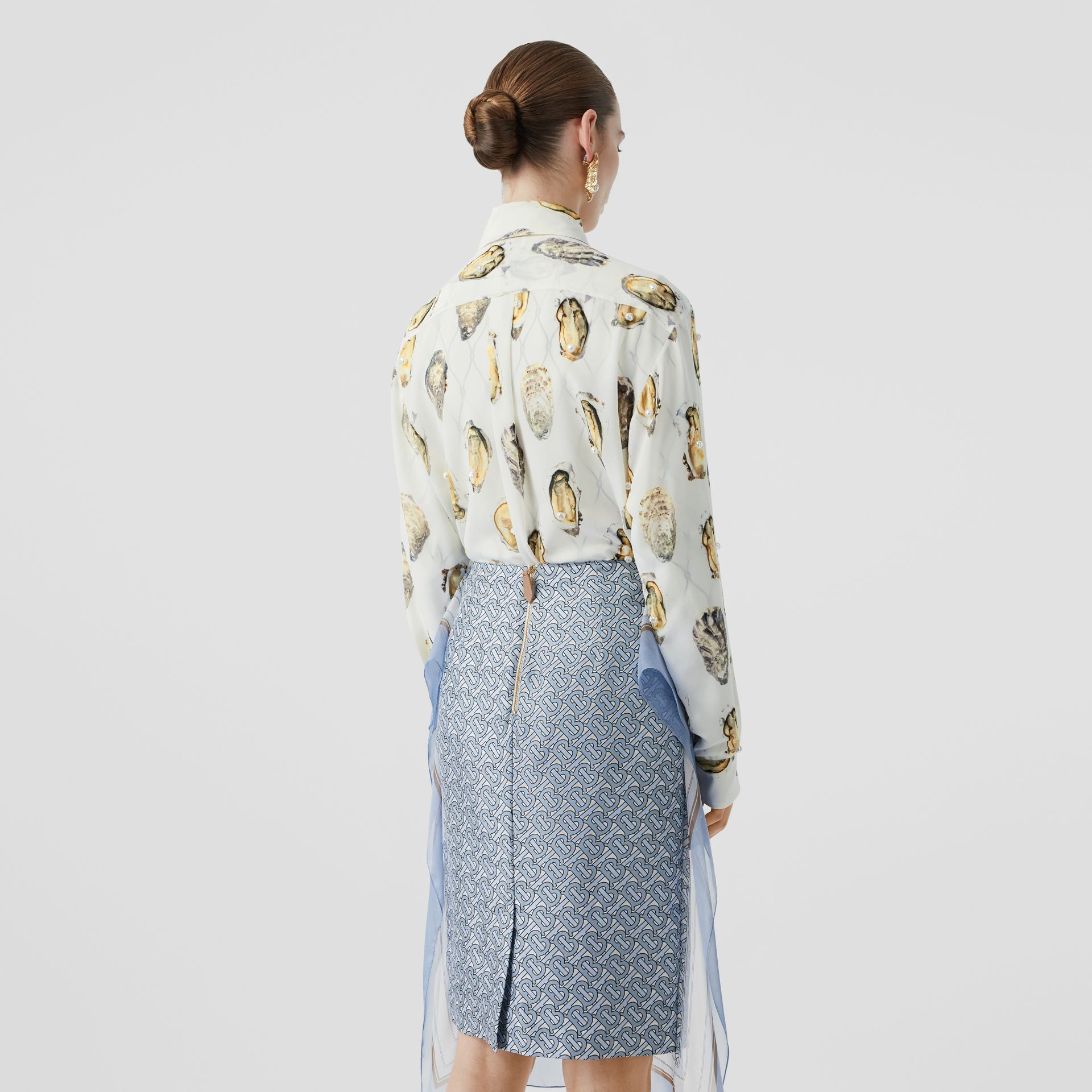 Embellished Oyster Print Silk Oversized Shirt in White - Women | Burberry Hong Kong S.A.R - gallery image 2