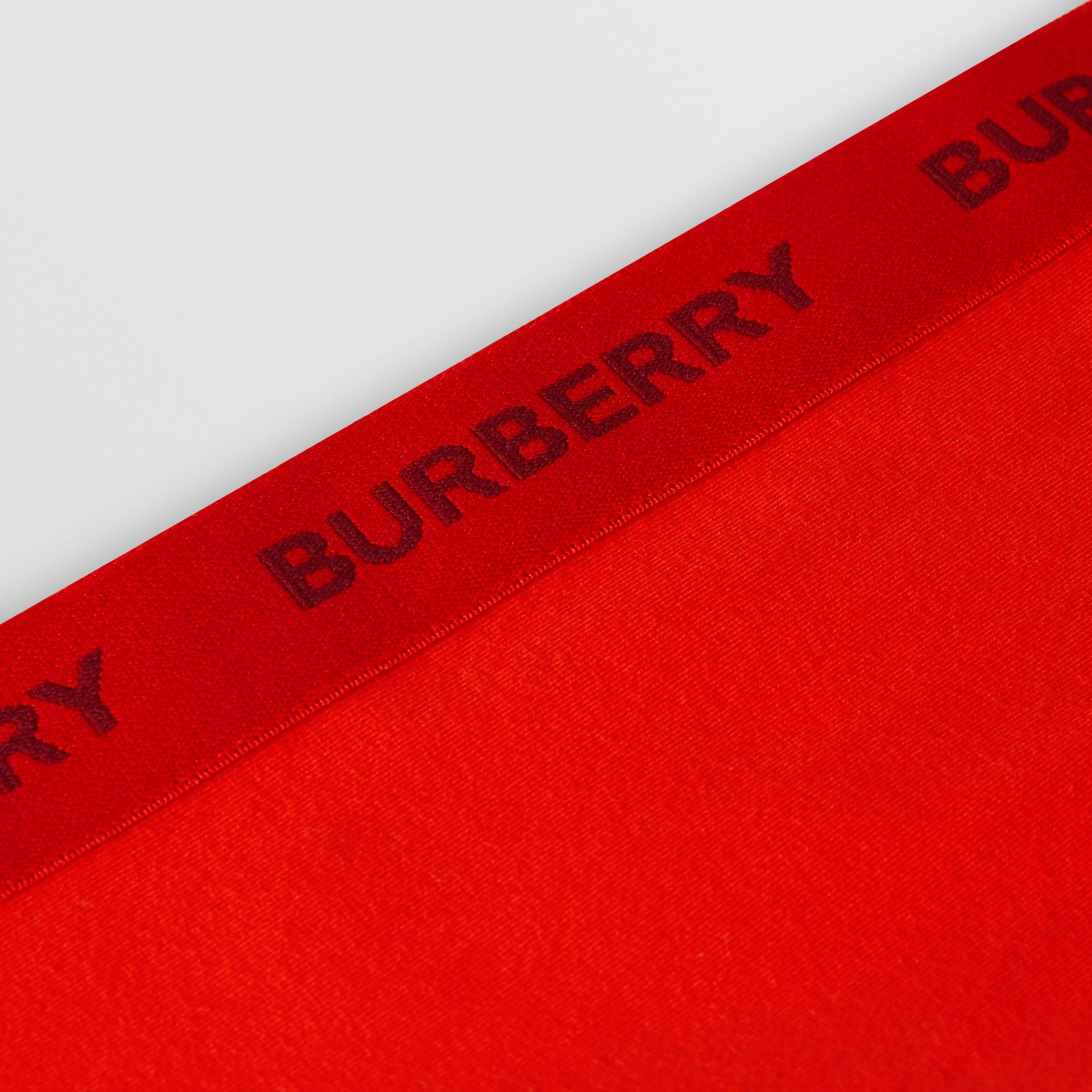 Logo Detail Stretch Cotton Leggings in Bright Red | Burberry United Kingdom - gallery image 1