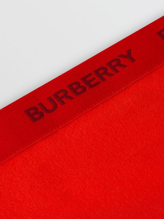 Logo Detail Stretch Cotton Leggings in Bright Red | Burberry - cell image 1
