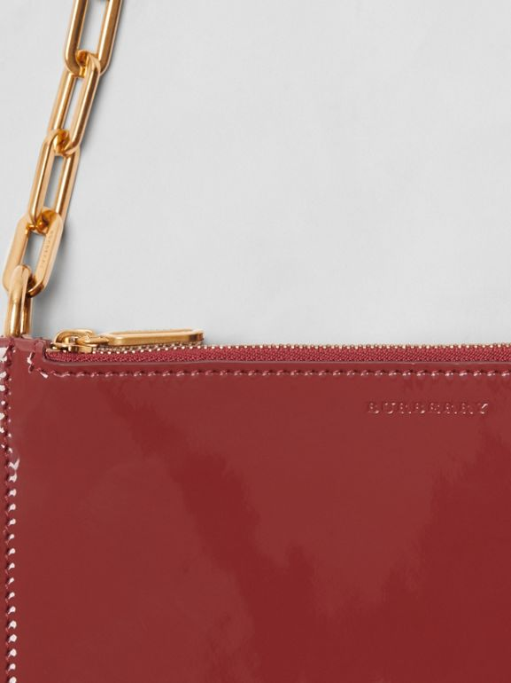 Triple Zip Patent Leather Crossbody Bag in Crimson - Women | Burberry - cell image 1